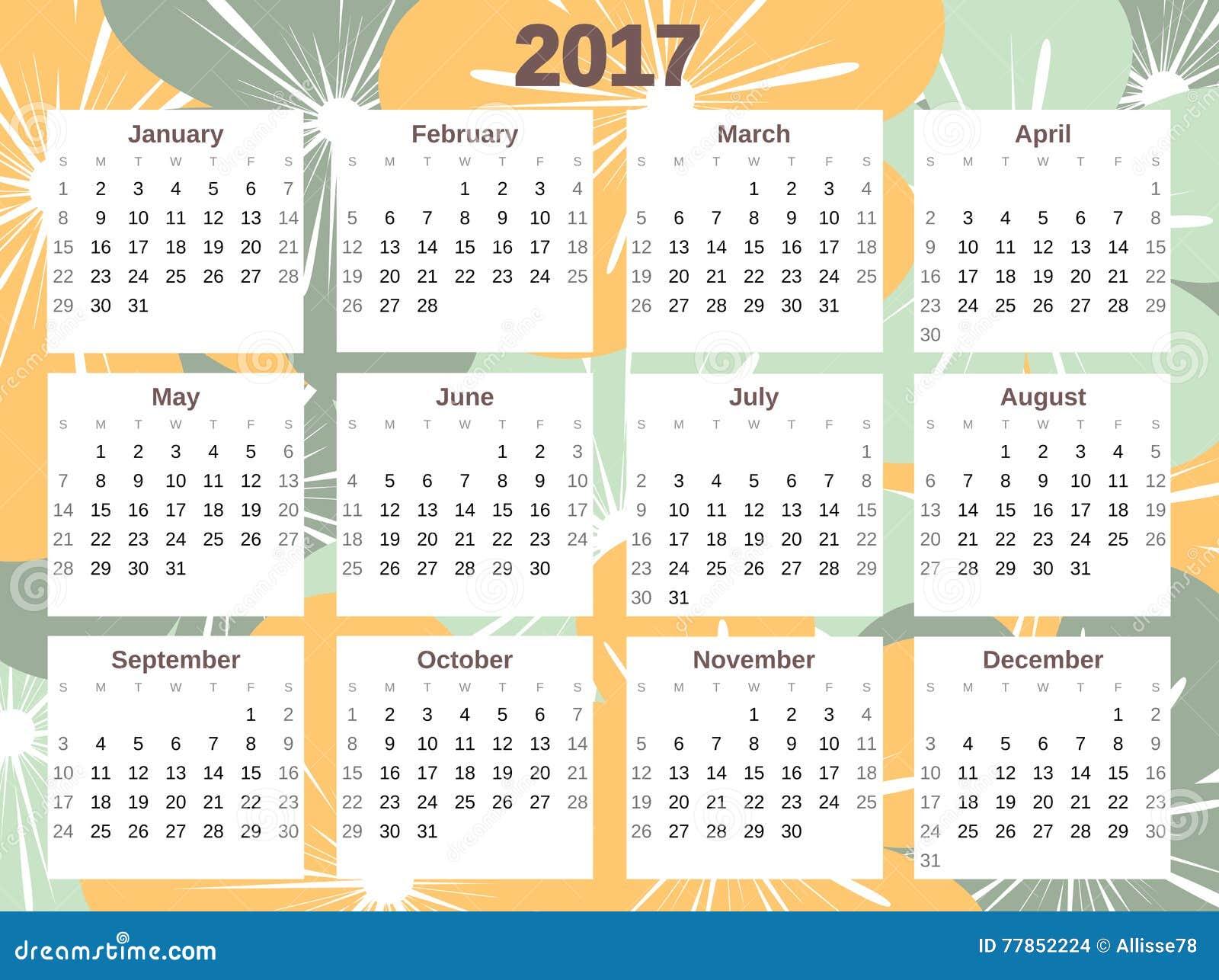 Cute October 2017 Calendar