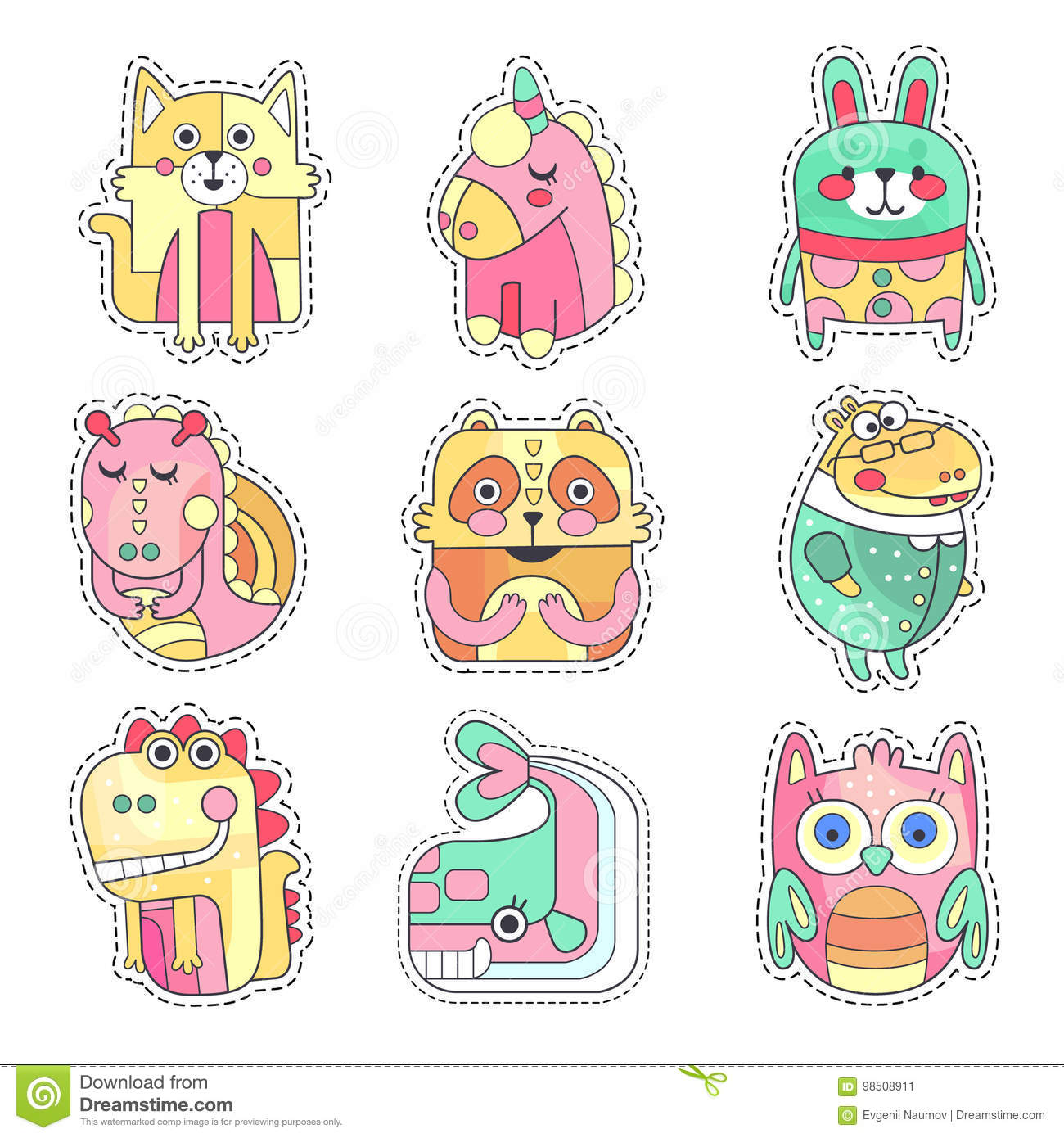 Cute Colorful Cloth Patches With Animals And Birds Set Embroidery