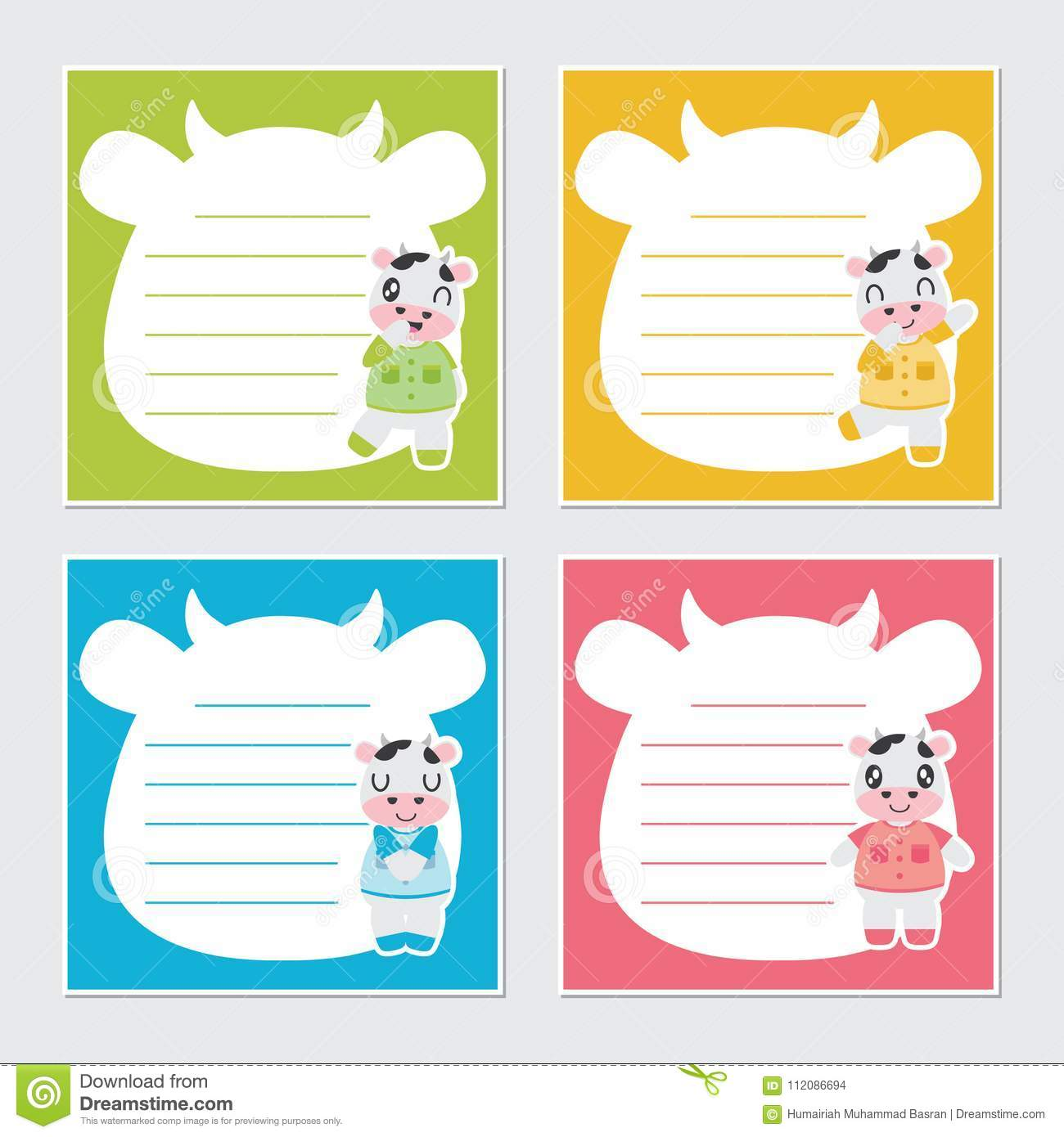 cute colorful cows frame cartoon illustration for kid memo paper