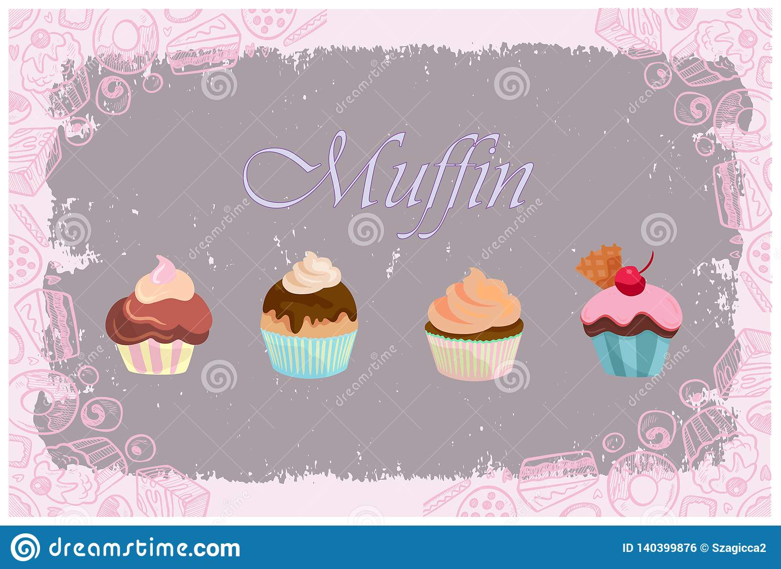 Pastel color cupcake set. Muffin with candy background