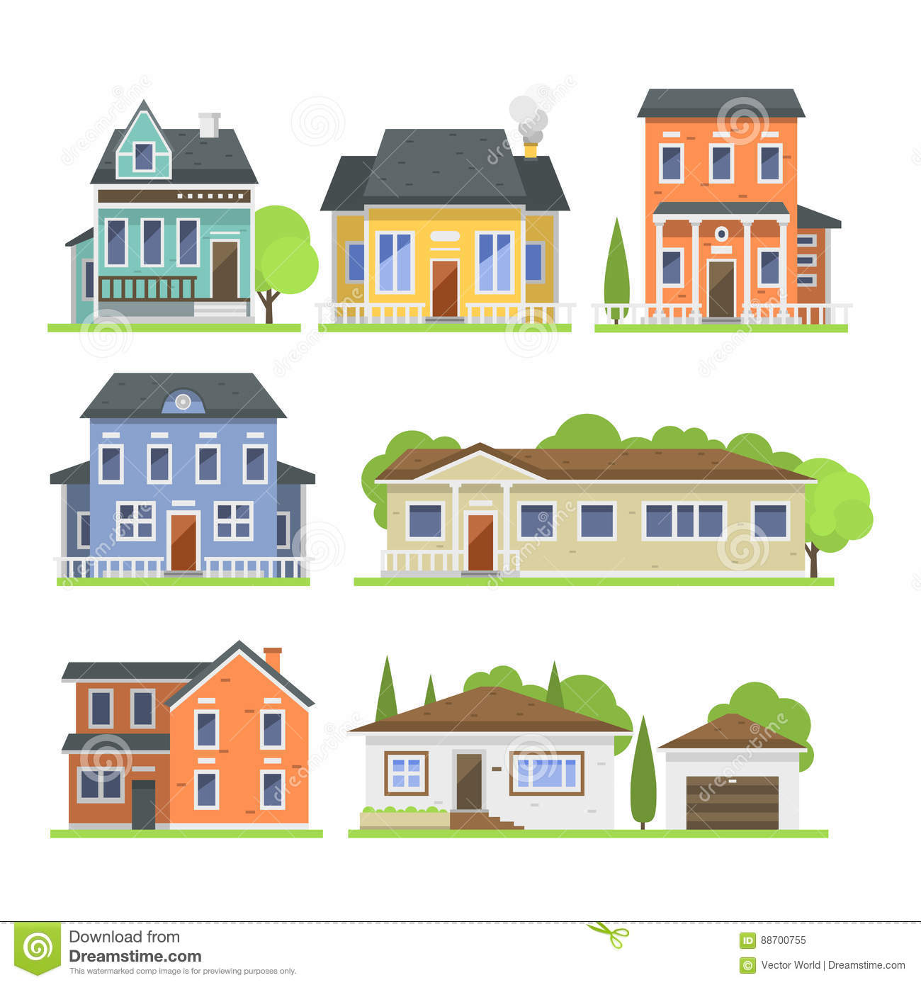 Residential gate design vector : Residential cartoons illustrations vector stock images
