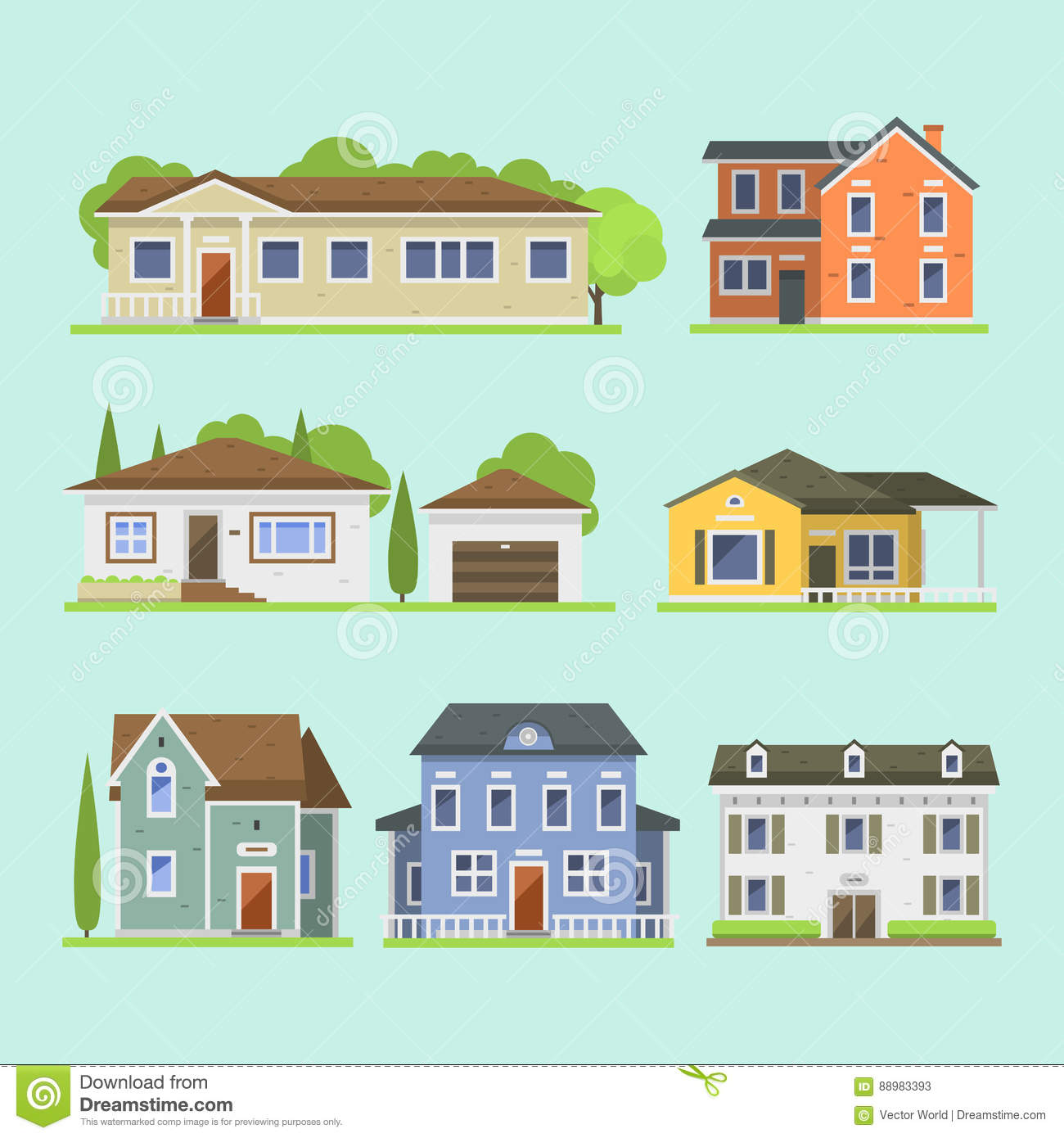 Village Graphic Design In Contemporary Style Stock Vector - Image ...