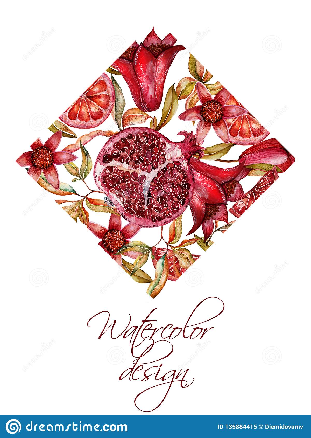 Beautiful Watercolor Frame With Fruits And Flowers Of ...