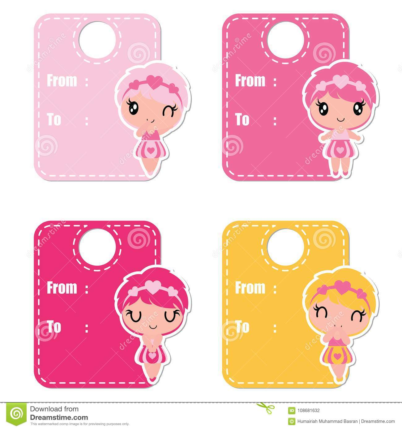 Cute Colorful Girls Cartoon Illustration For Valentine Gift Tags