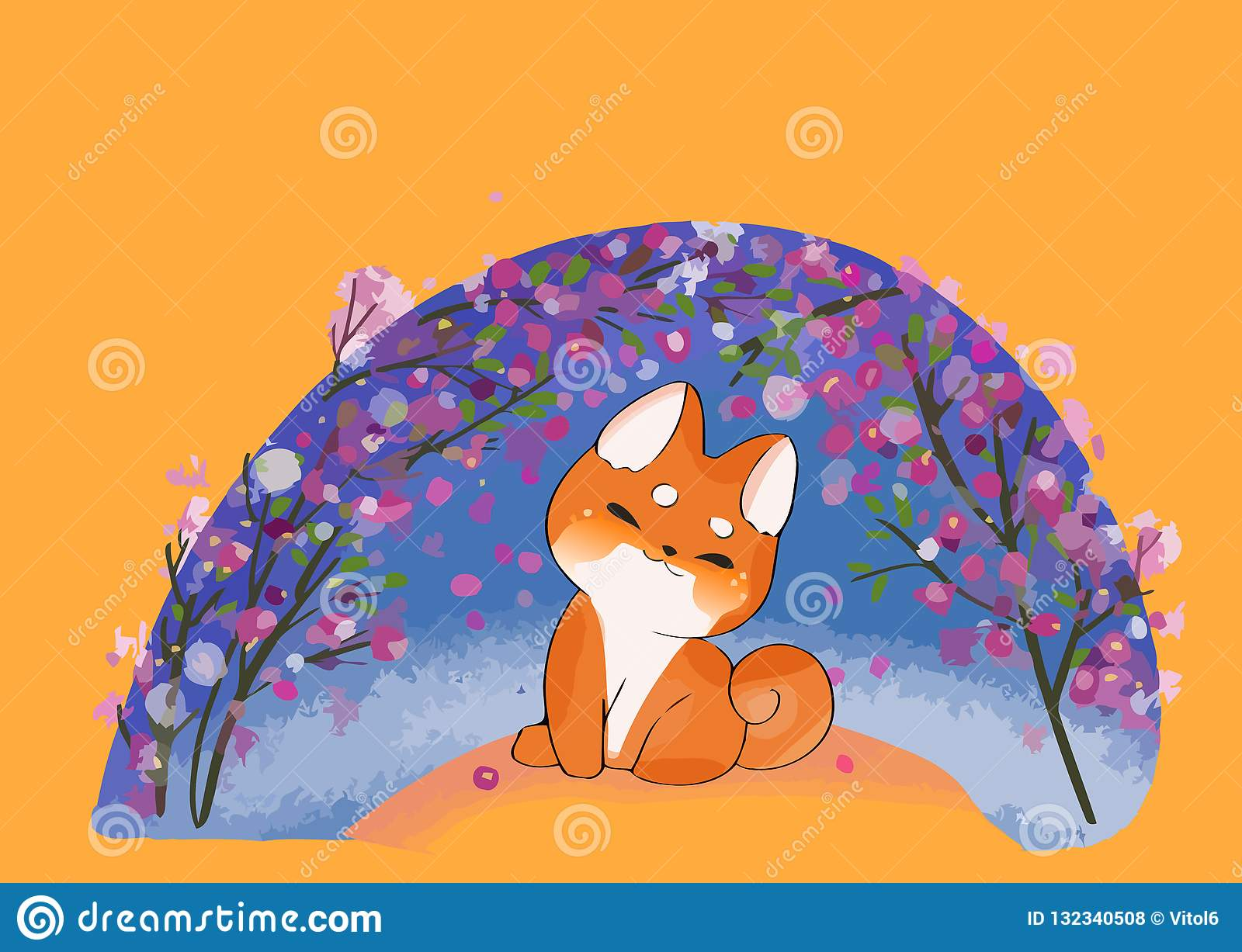 Kawaii Dog Of Shiba Inu Breed Cartoon Style Vector Stock Vector Illustration Of Graphic Breed 132340508