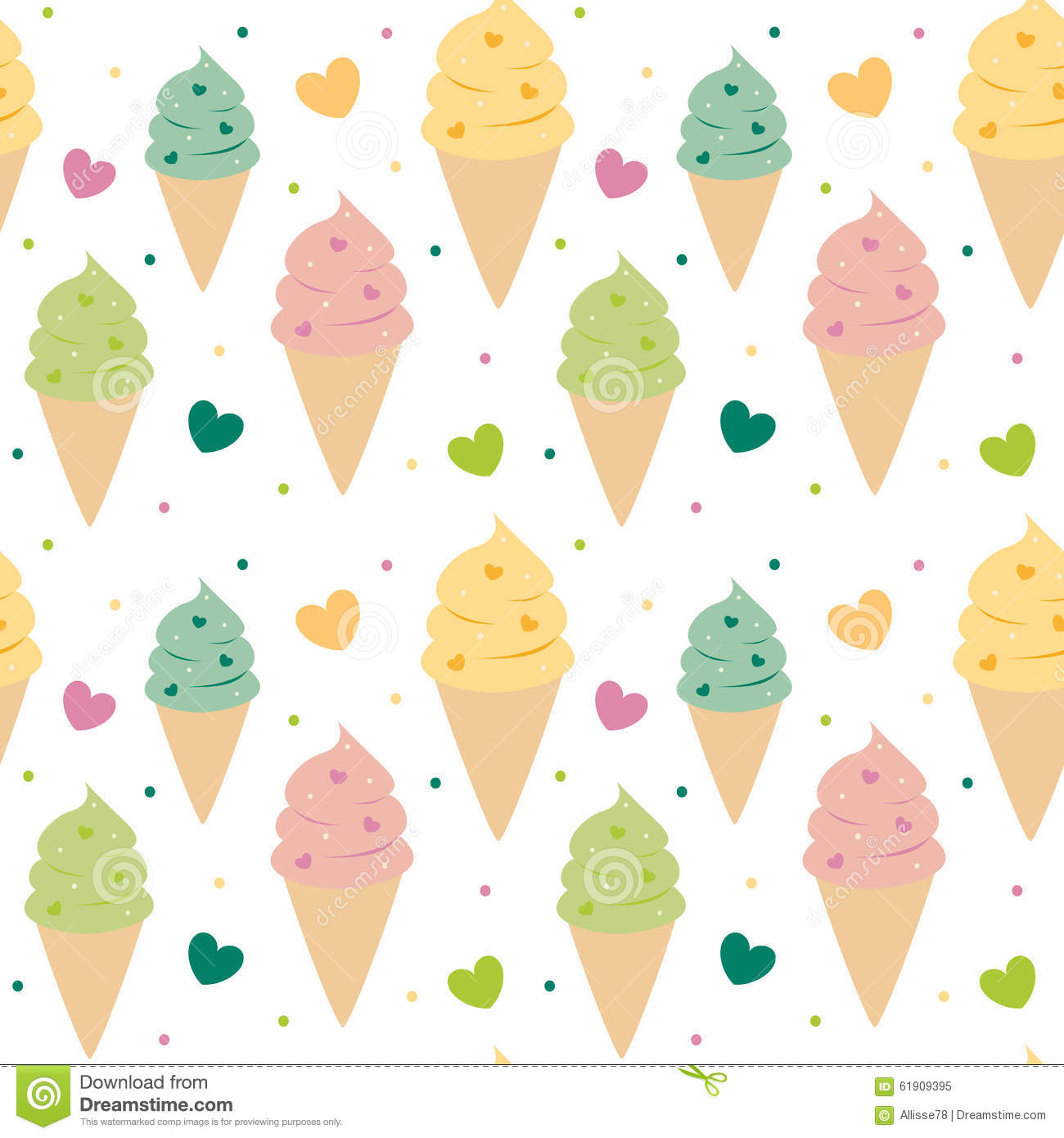Sweet Ice Cream Flat Colorful Seamless Pattern Vector: Cute Colorful Ice Cream Seamless Pattern Background