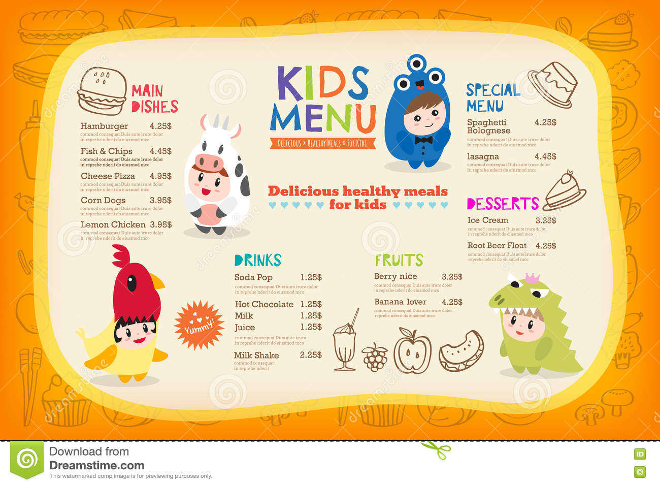 Cute Colorful Kids Meal Menu Template Stock Vector Illustration Of