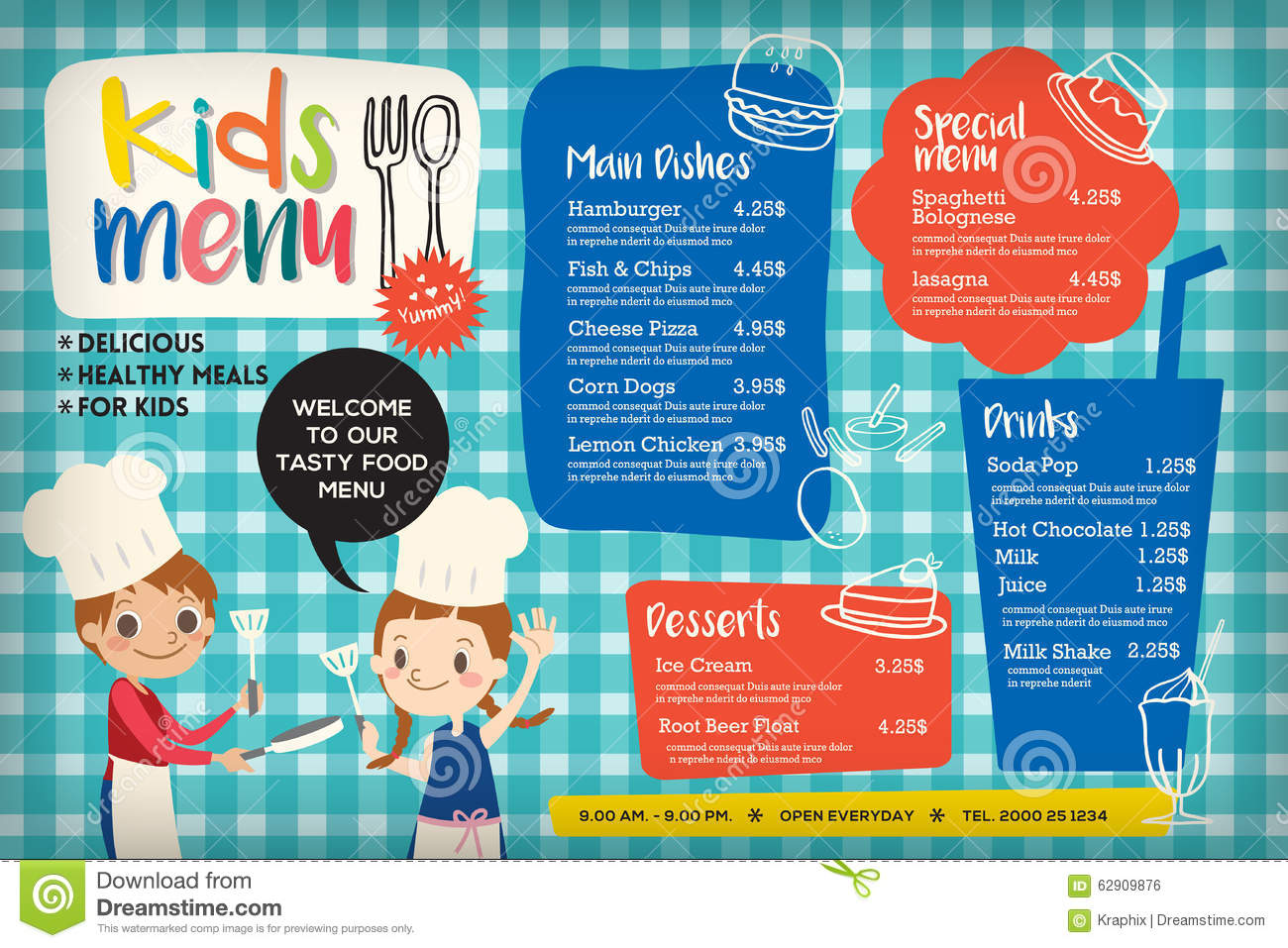 Cute Colorful Kids Meal Menu Template Stock Vector   Illustration .