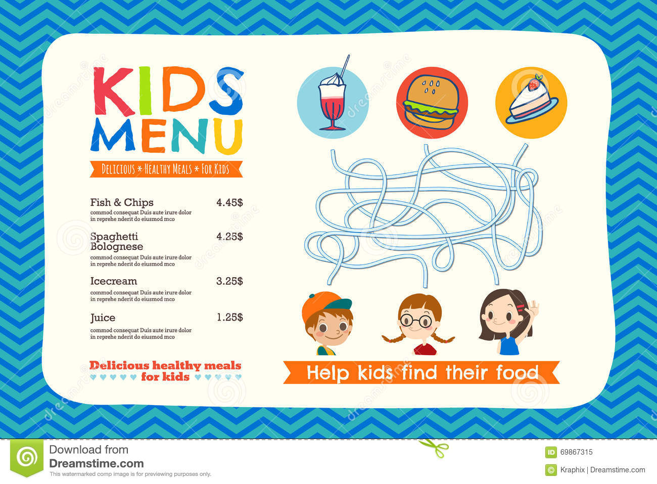 Cute Colorful Kids Meal Menu Template  Kids Menu Templates