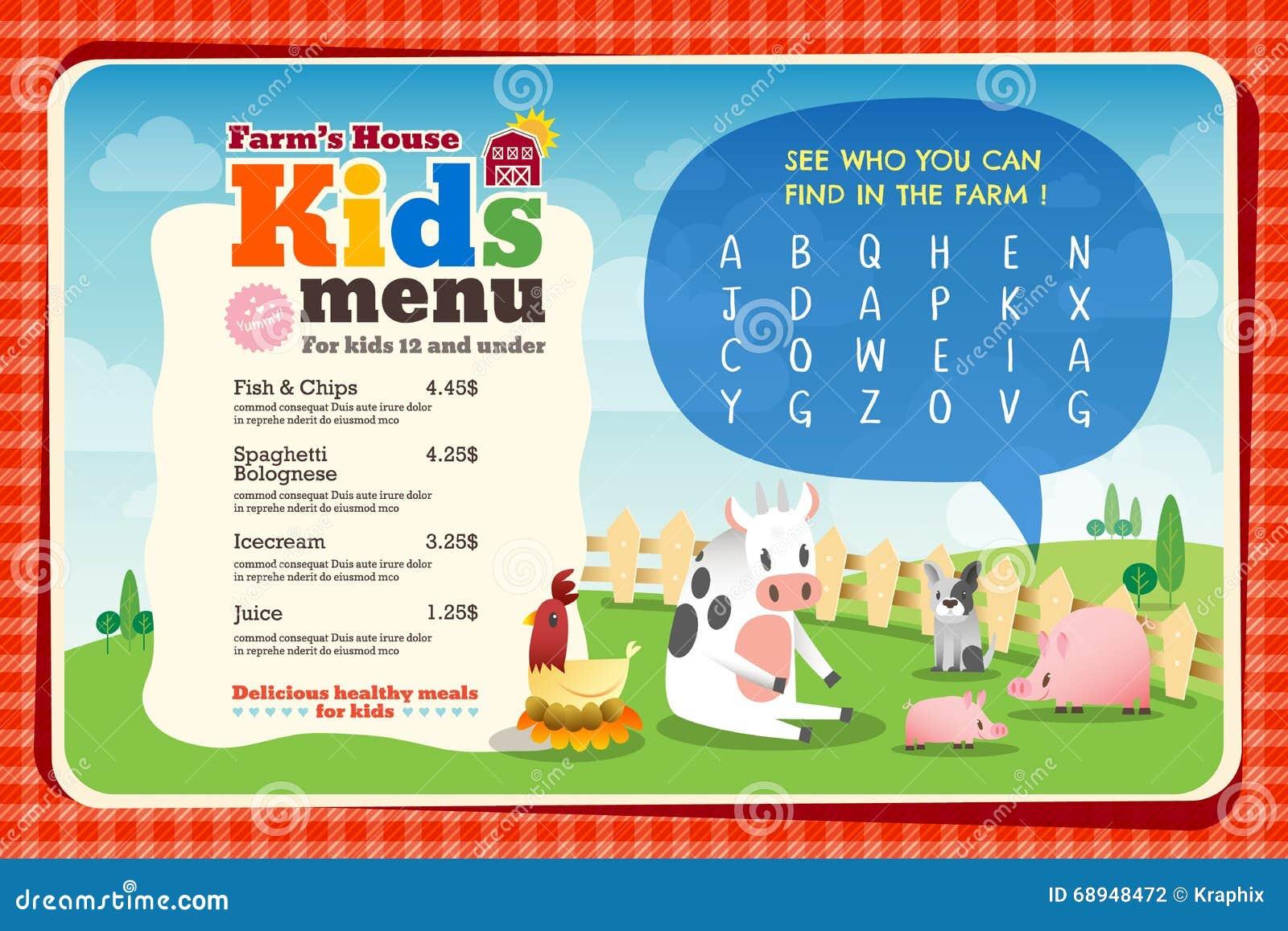Cute Colorful Kids Meal Menu Template Stock Vector Image