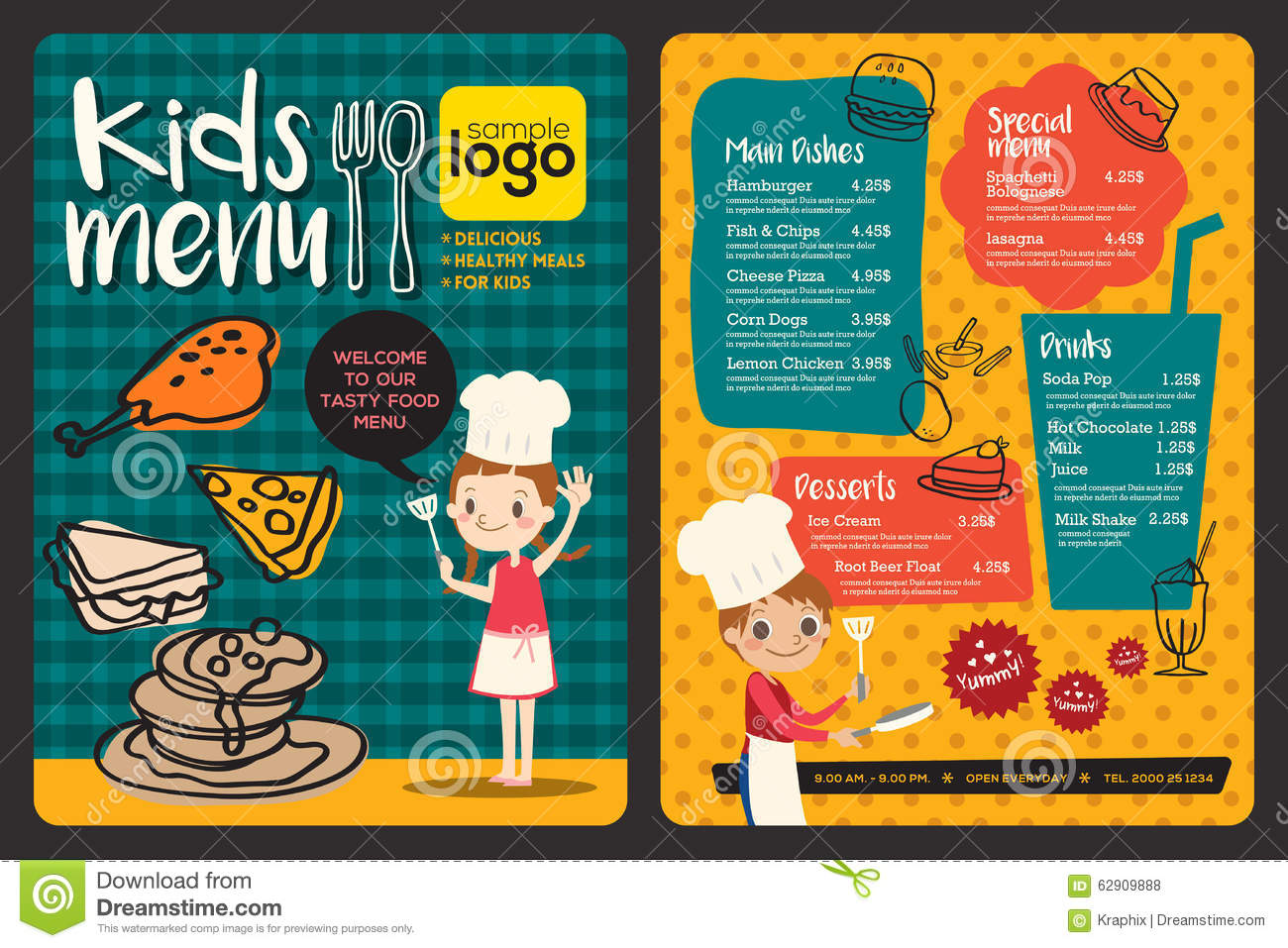 Delightful Cute Colorful Kids Meal Menu Template. Royalty Free Vector  Free Kids Menu Templates
