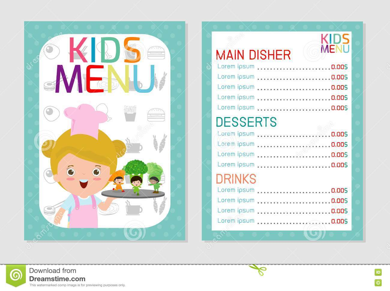 Cute colorful kids meal menu vector template, kids menu, Cute colorful kids meal menu design