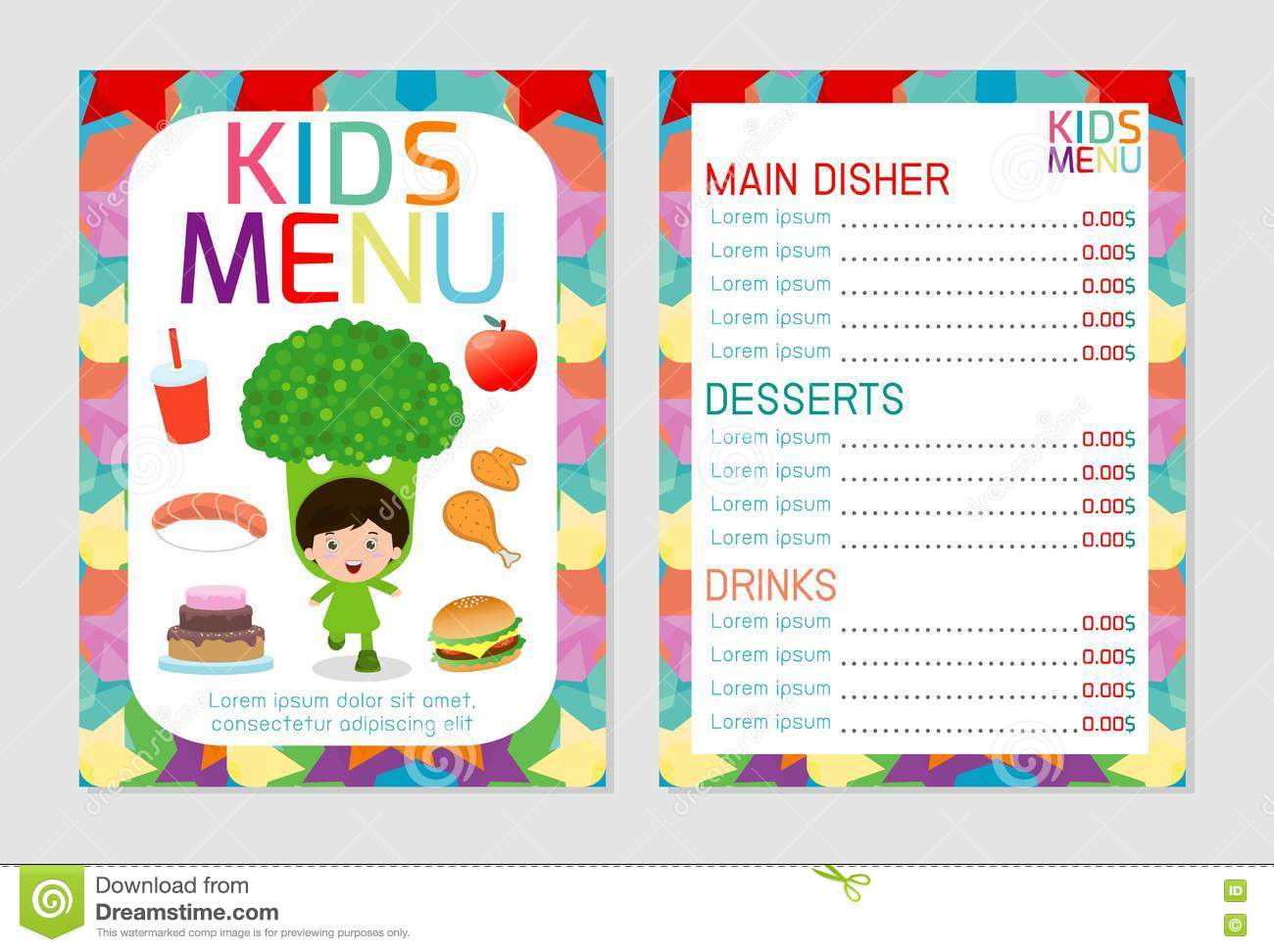 Cute Colorful Kids Meal Menu Vector Template, Kids Menu, Cute Colorful Kids  Meal Menu Design. Cartoon, Banner.  Kids Menu Templates
