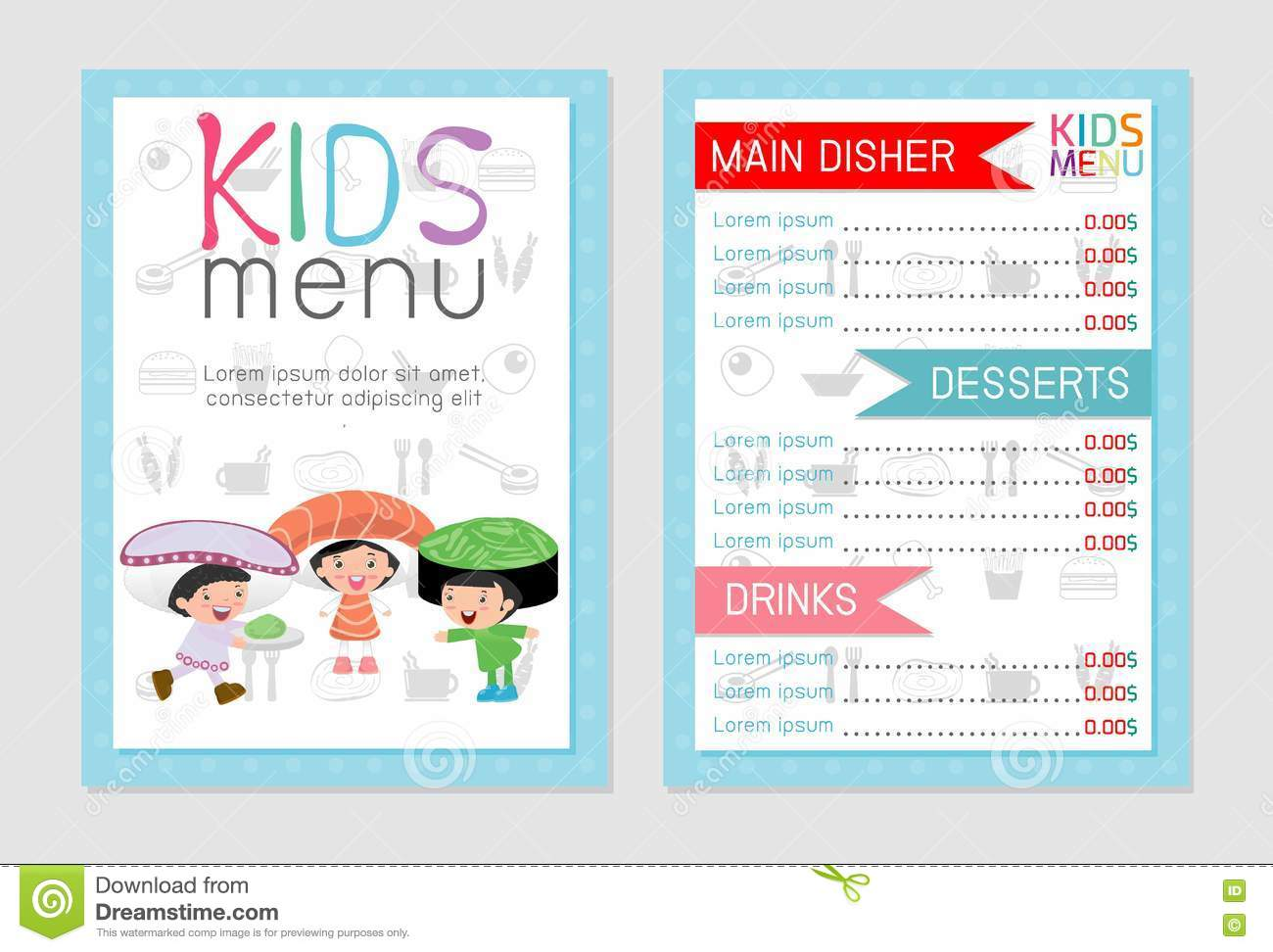cute colorful kids meal menu vector template kids menu cute colorful kids meal menu design flyer background