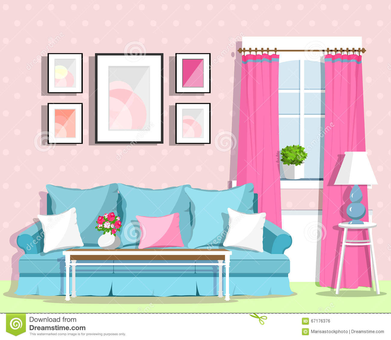 Cute colorful living room interior design with furniture for Colorful living room furniture