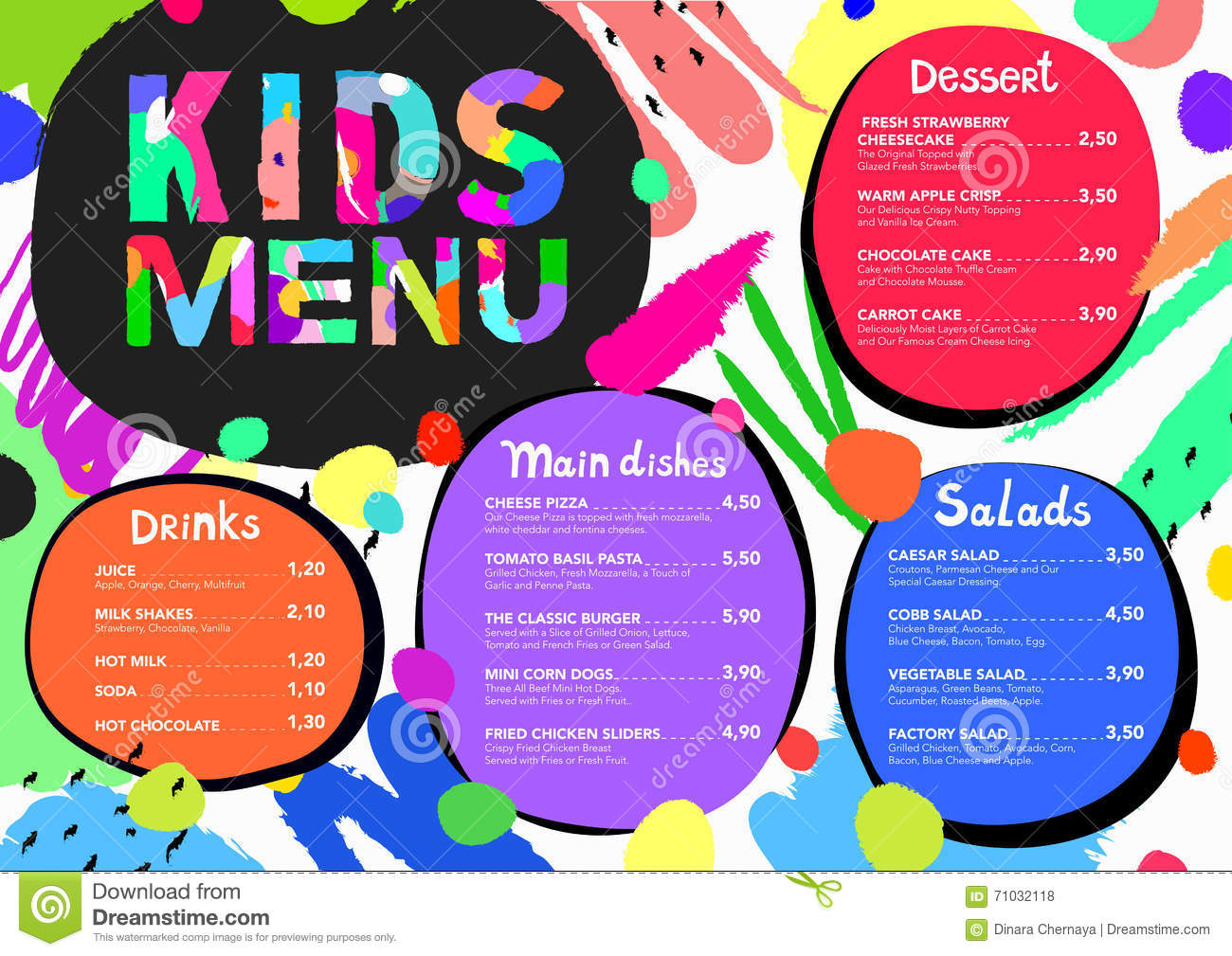 Cute Colorful Meal Kids Menu Template With Colorful Background ...