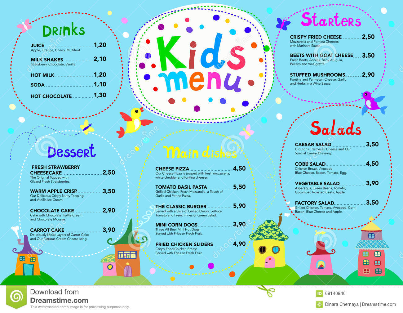 school menu templates
