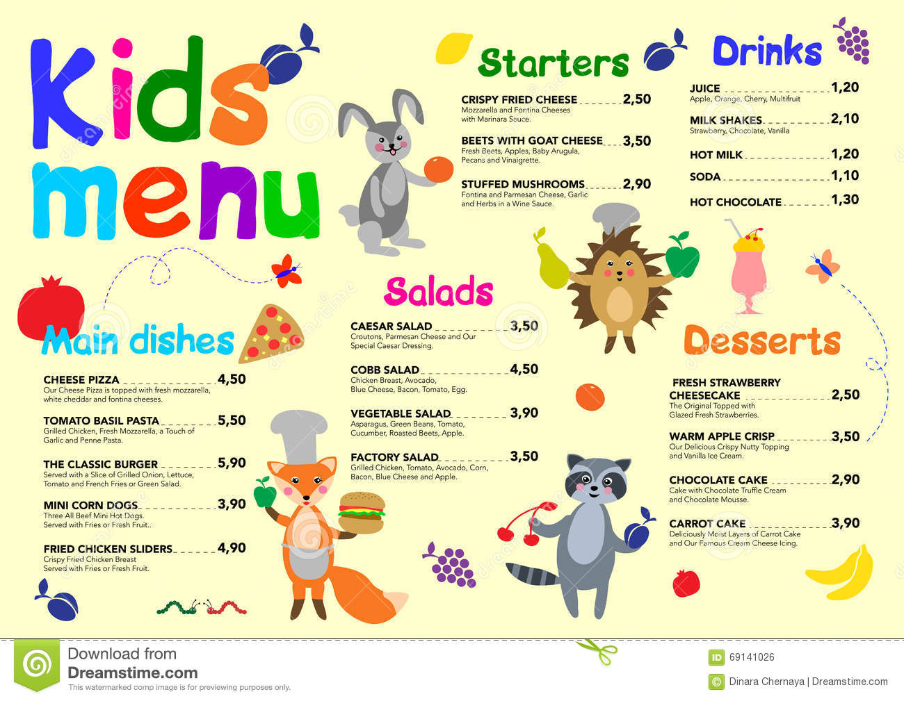 Cute Colorful Meal Kids Menu Template With Cute Little Sweet .