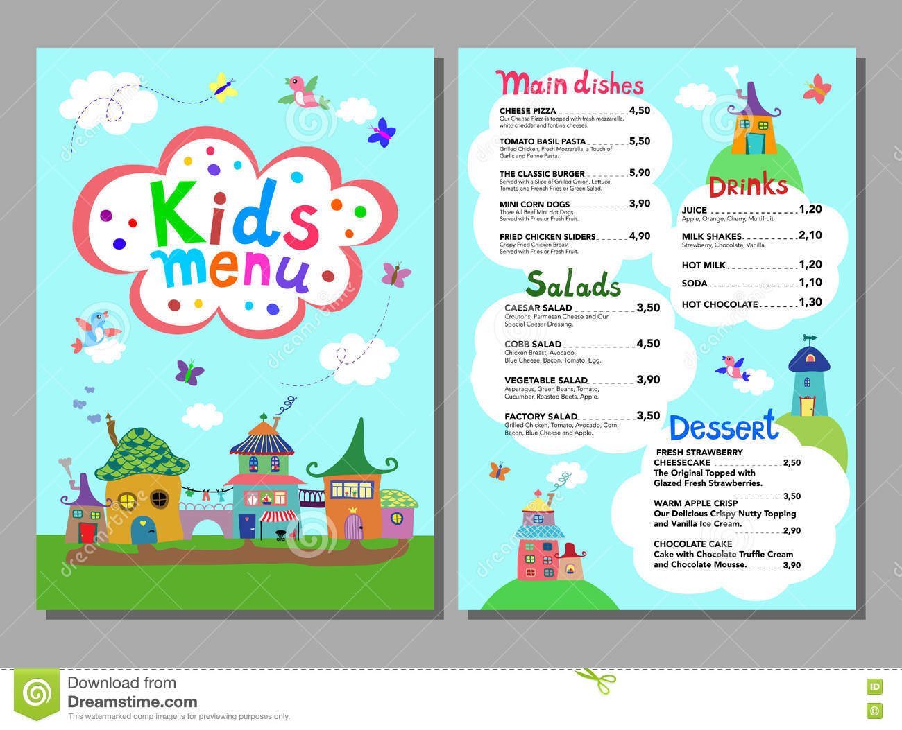 Cute Colorful Kids Meal Menu Template Stock Vector Illustration Cute  Colorful Meal Kids Menu Template Vector  Kids Menu Templates