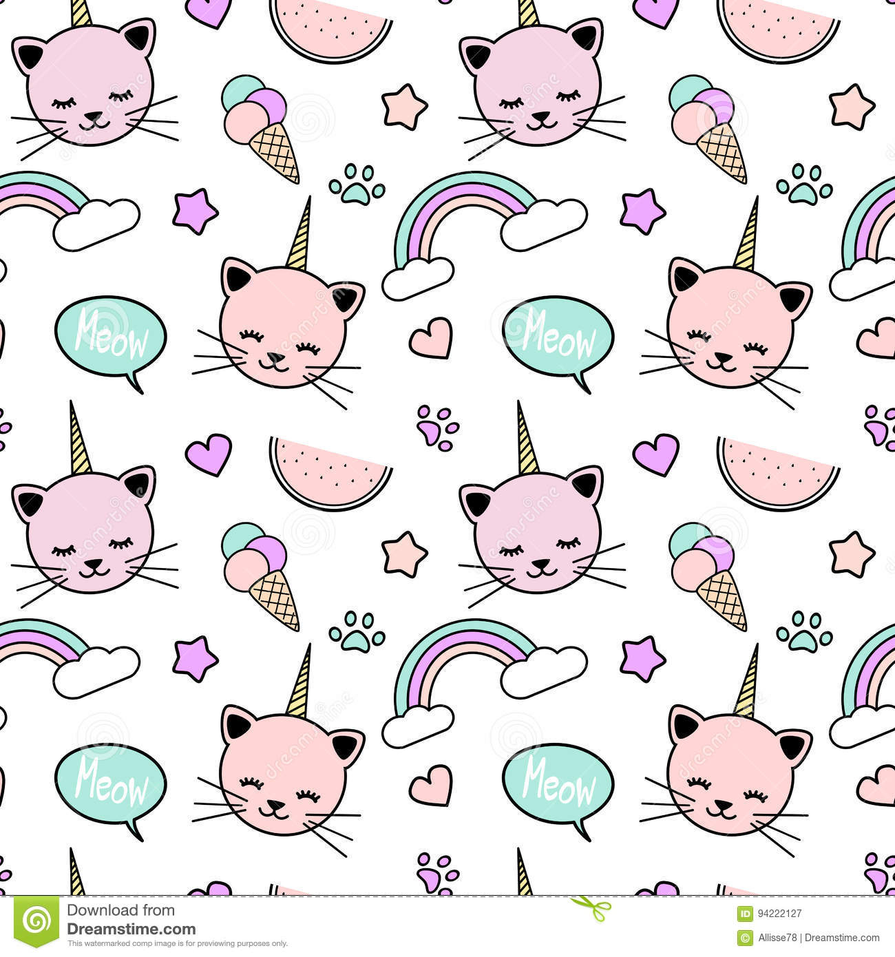 Pattern Cute Colorful Ice Cream Textiles Stock Vector: Cute Colorful Seamless Pattern Background Illustration