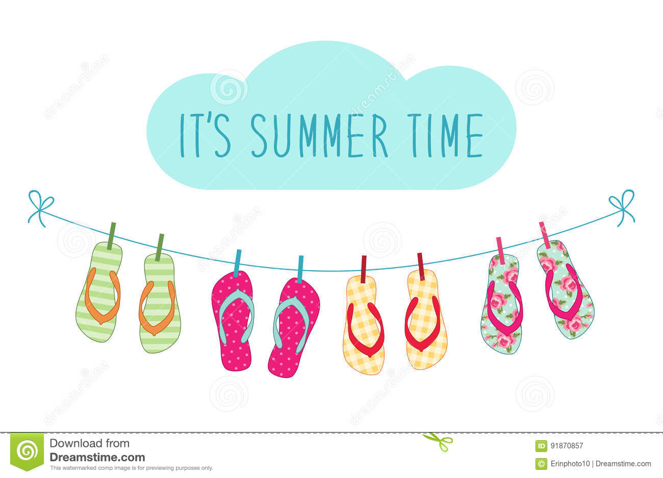 39ae781f1b336 Cute colorful summer banner with flip flops hanging on the rope for your  decoration. More similar stock illustrations