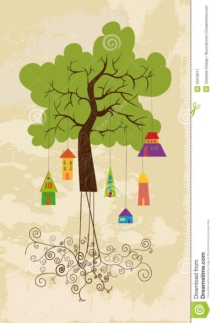 Cute colorful tree bird house stock vector image 32019511 for Colorful tree house