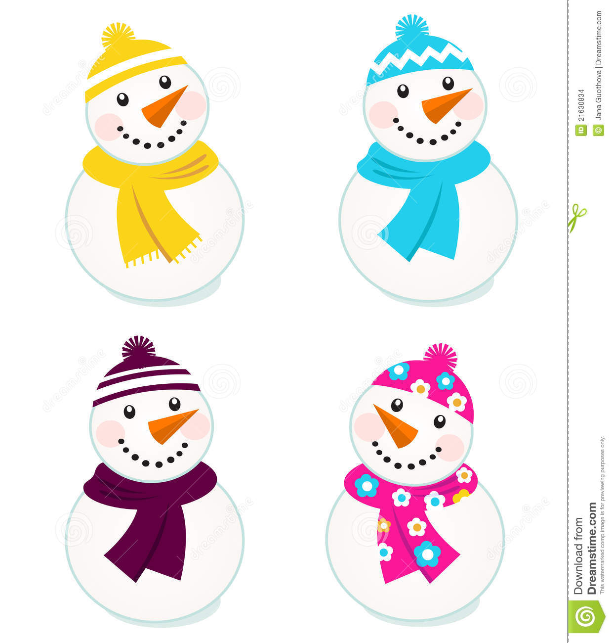 Cute Colorful Vector Snowmen Collection Stock Images
