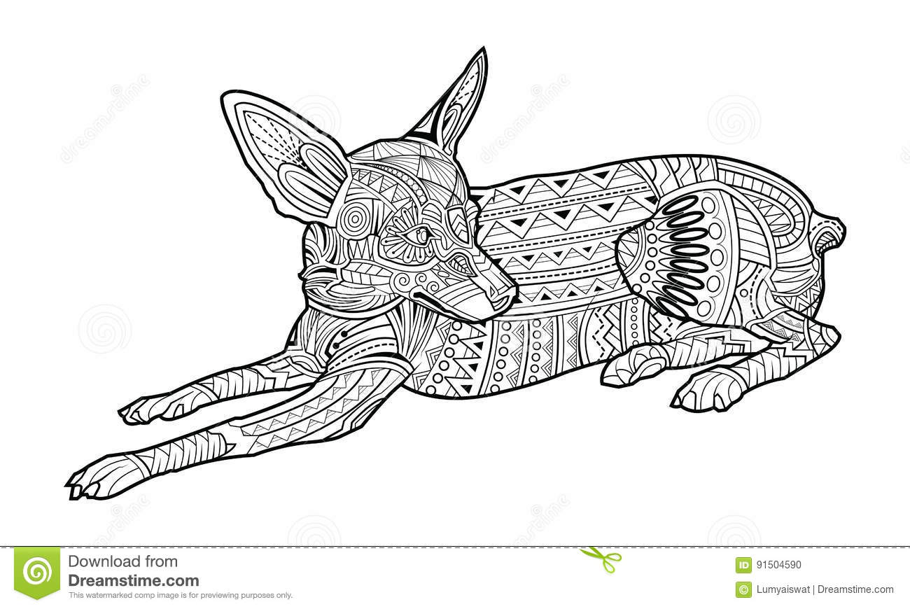 Cute Coloring Page Dog Of Breed Chihuahua Stock Vector ...