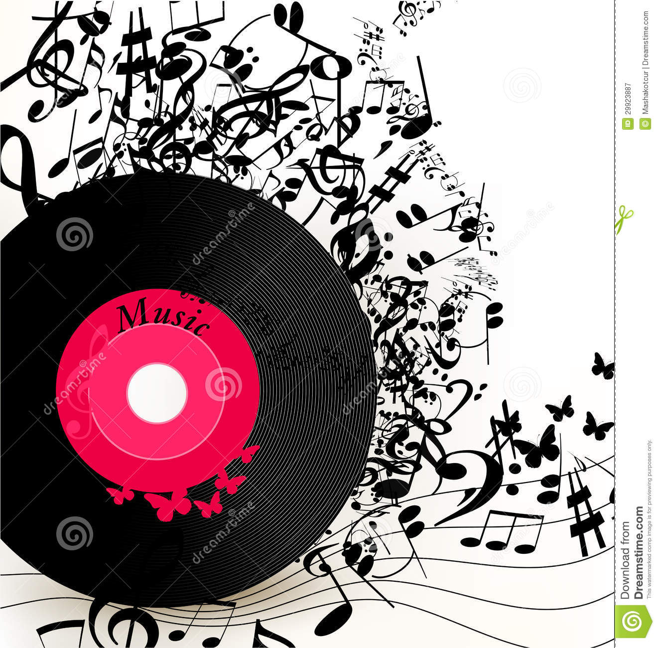 Musical Vinyl Wallpaper: Abstract Music Background With Vinyl Record And Notes