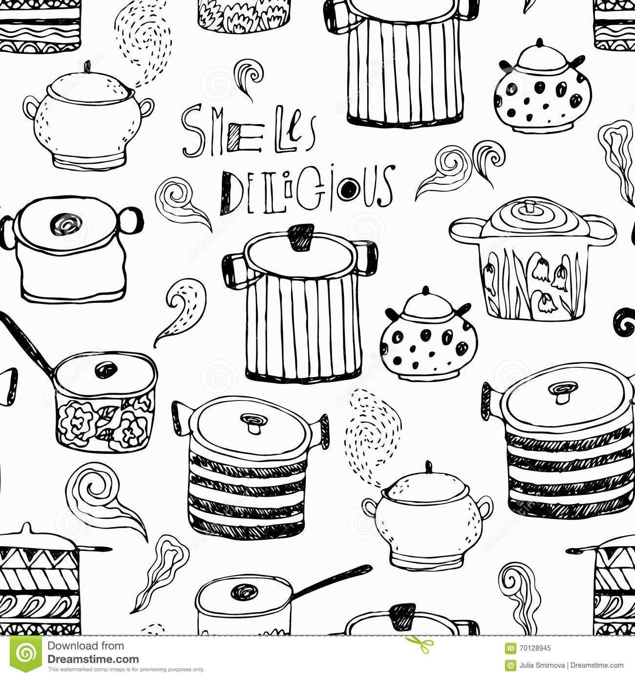 Scrapbook paper cooking - Cute Cooking Pots And Lettering Seamless Pattern
