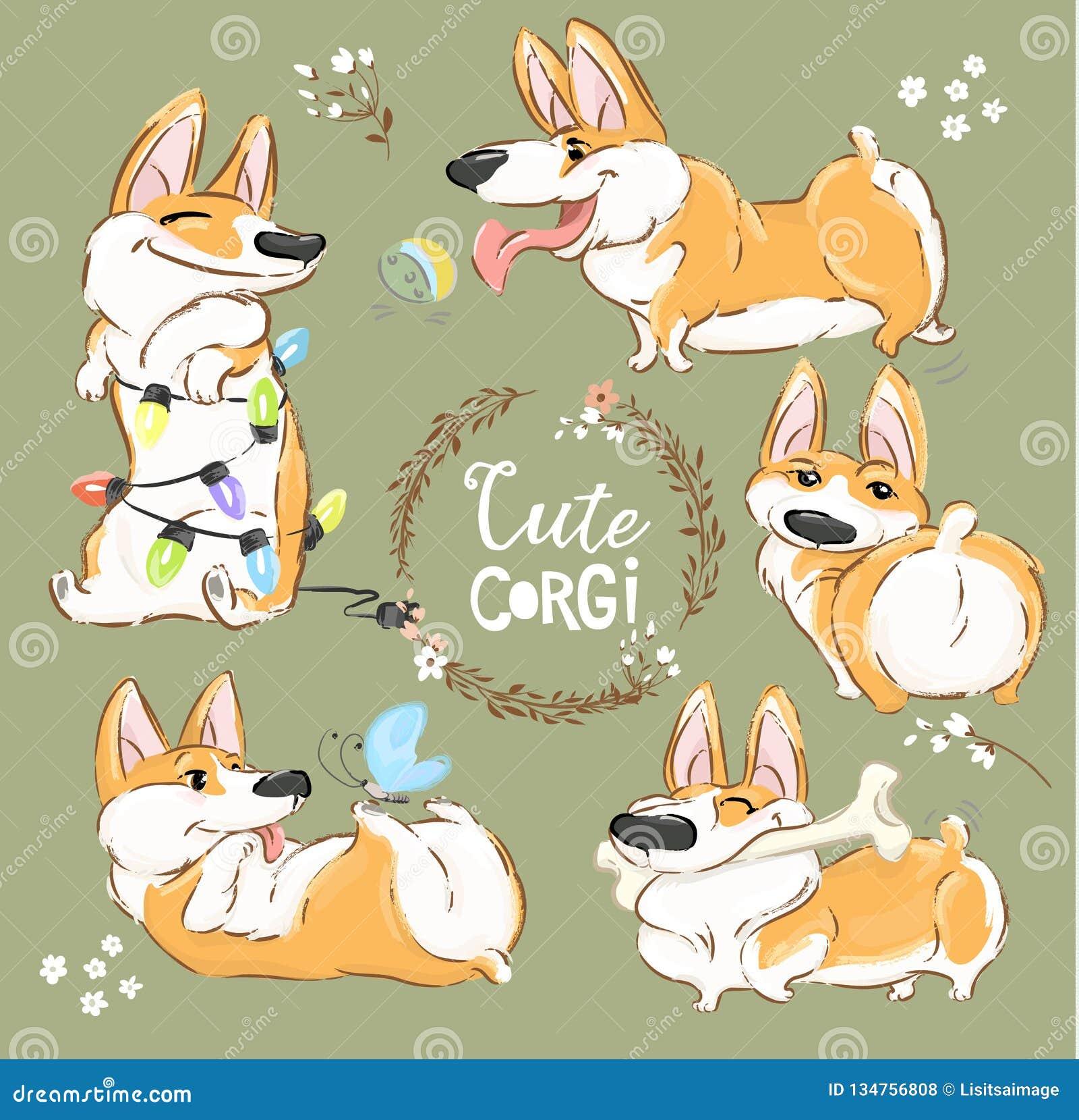 Cute Corgi Dog Character Cartoon Vector Set. Funny Short Fox Pet Group Smile, Play with Ball and Bone. Cheerful Happy