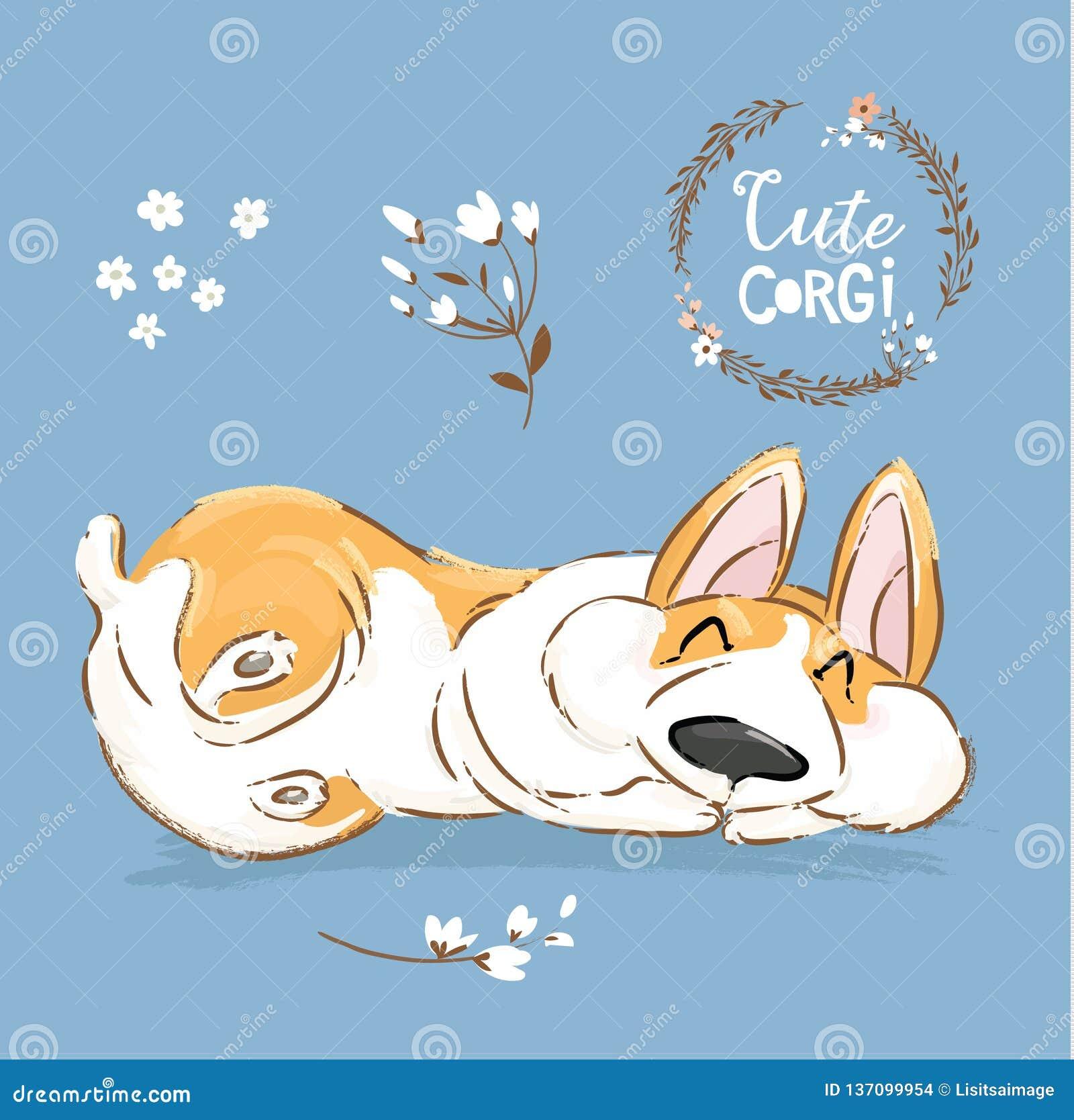 Cute Corgi Dog Puppy Sleep Vector Banner. Welsh Short Fox Pet Character Rest Pose Poster. Little Cheerful Brown Doggy