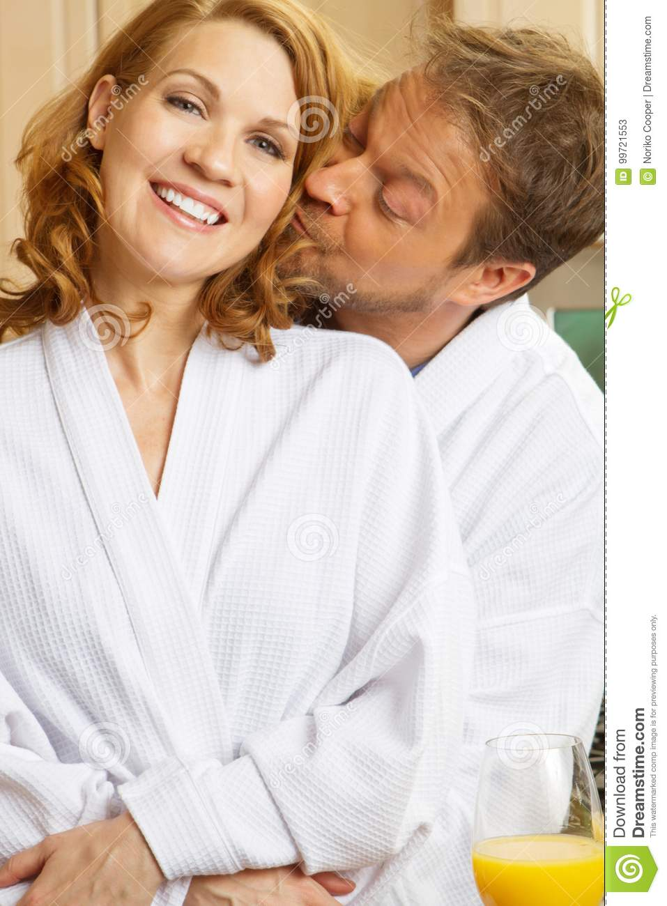 Cute Couple In Bath Robes Stock Image Image Of Family 99721553