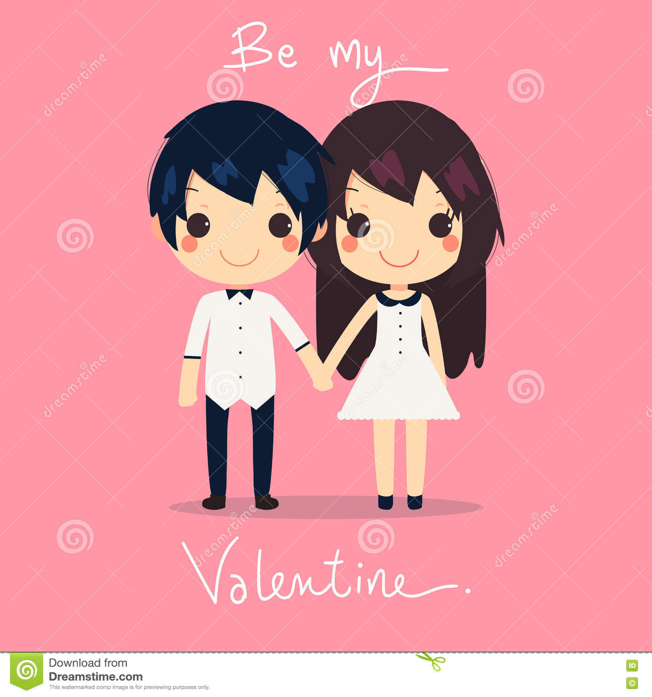 Card of cute couple hold hands together they wear couples dress and shirt with text be my valentine