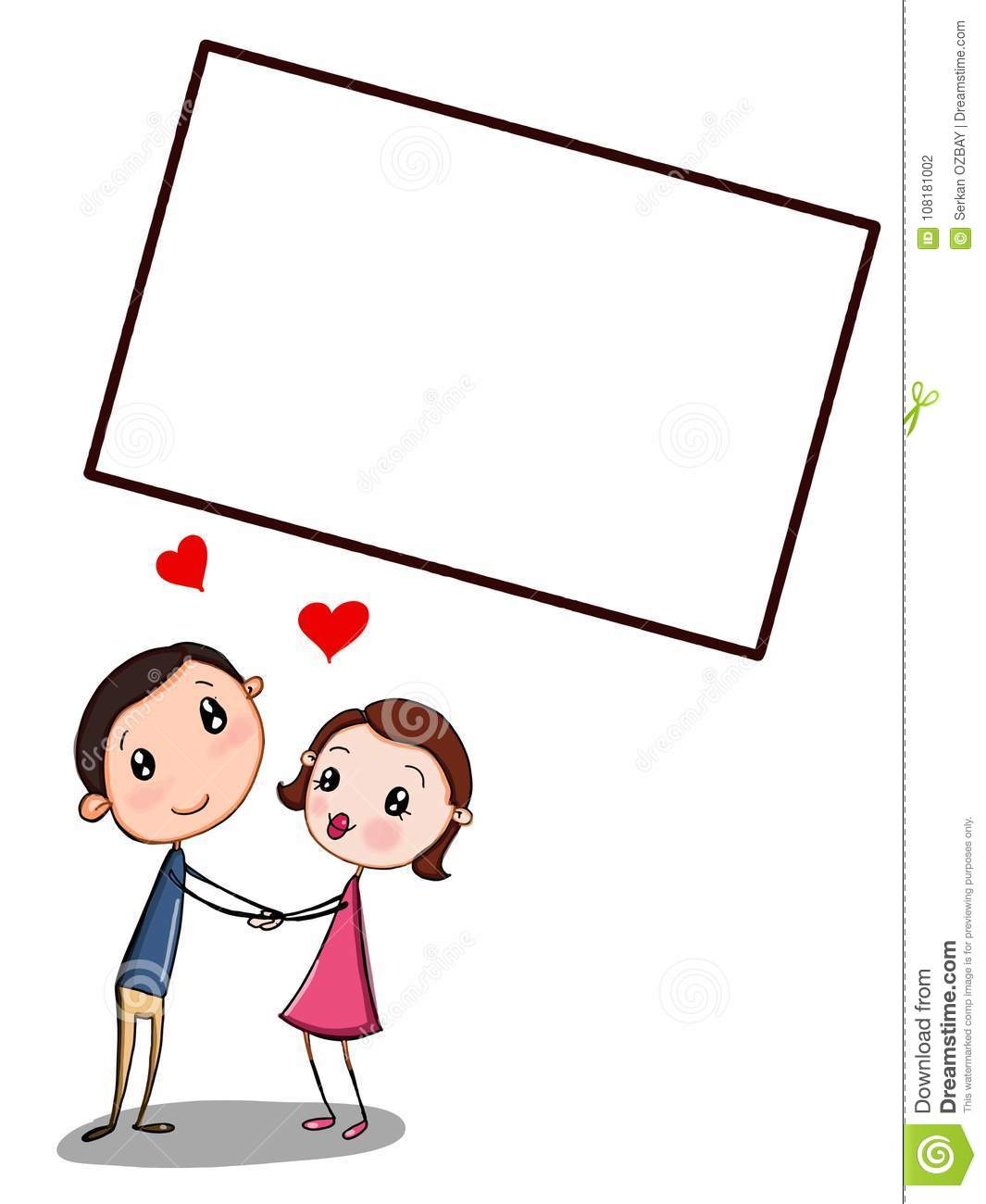 Cute Couple Illustration Male Female Illustration Drawing And