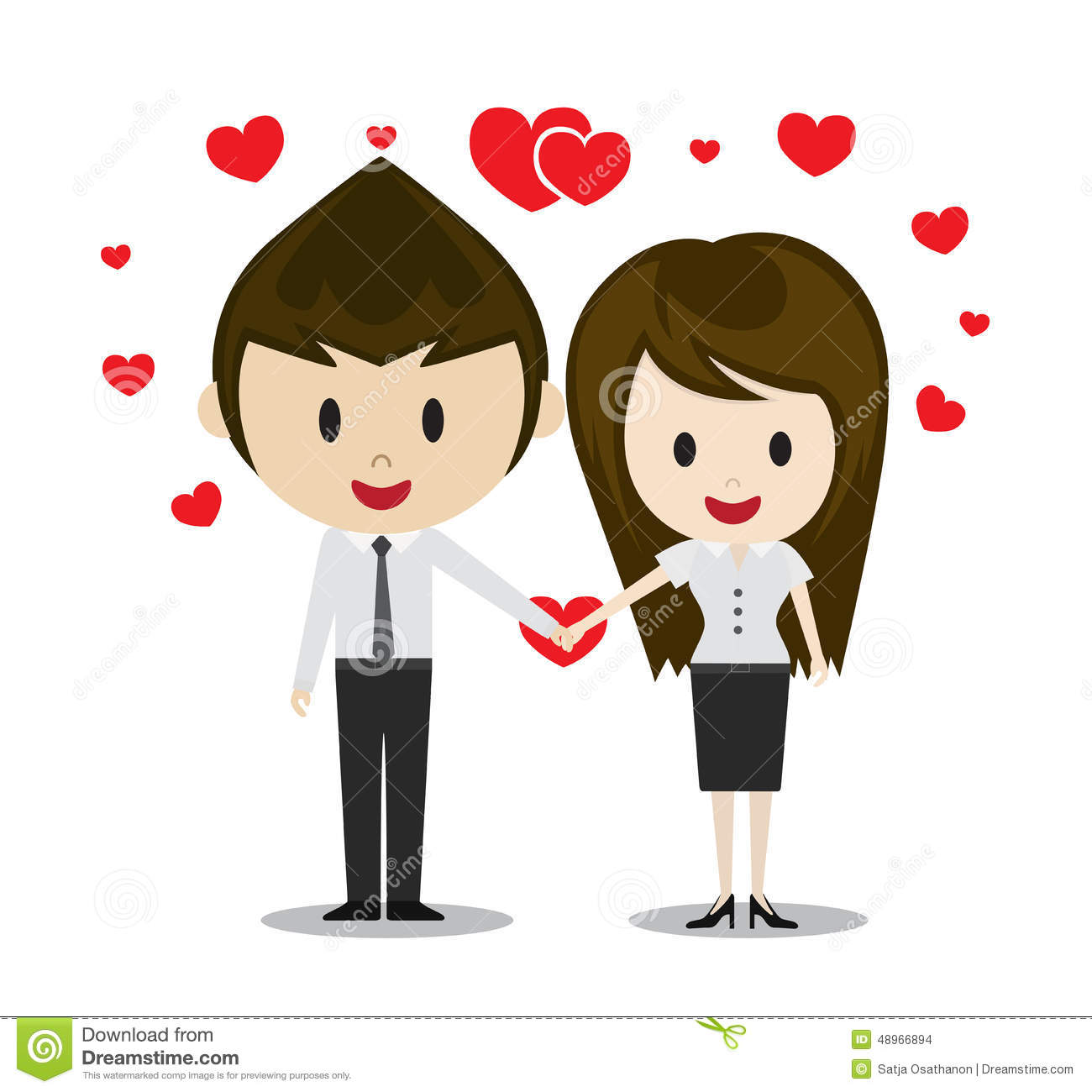 cute couple in love holding hands cartoon characters