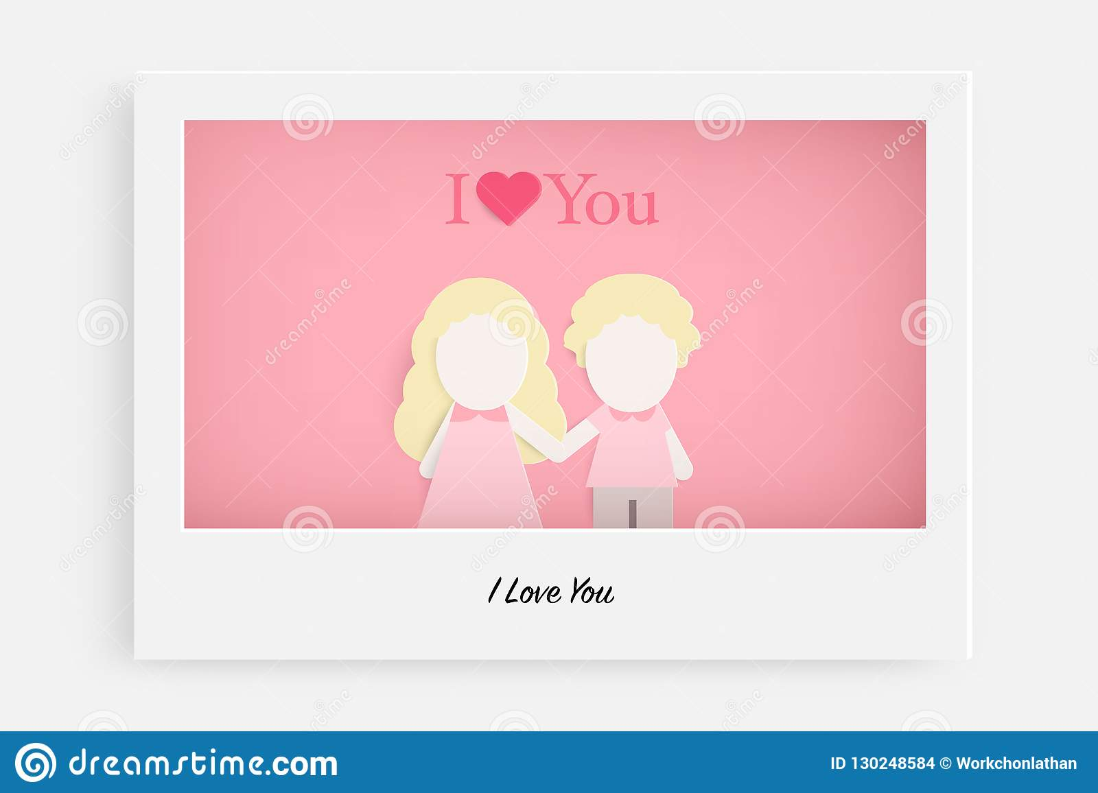 Cute couple in love on pink background and text I Love You