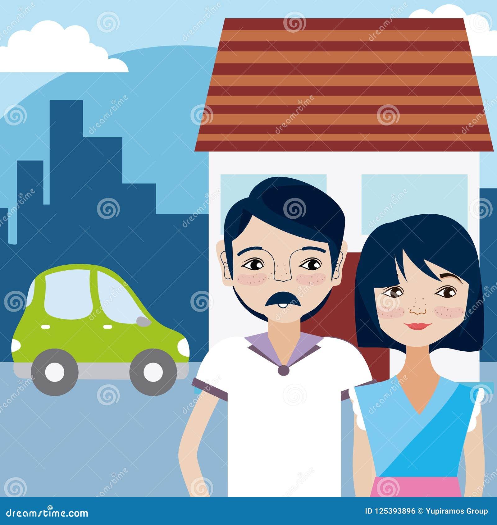 Cute Couple Cartoon Stock Vector Illustration Of Illustration