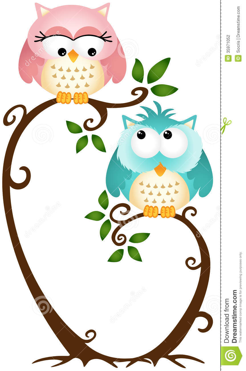 Image representing a cute couple owls on the tree, isolated on white ...