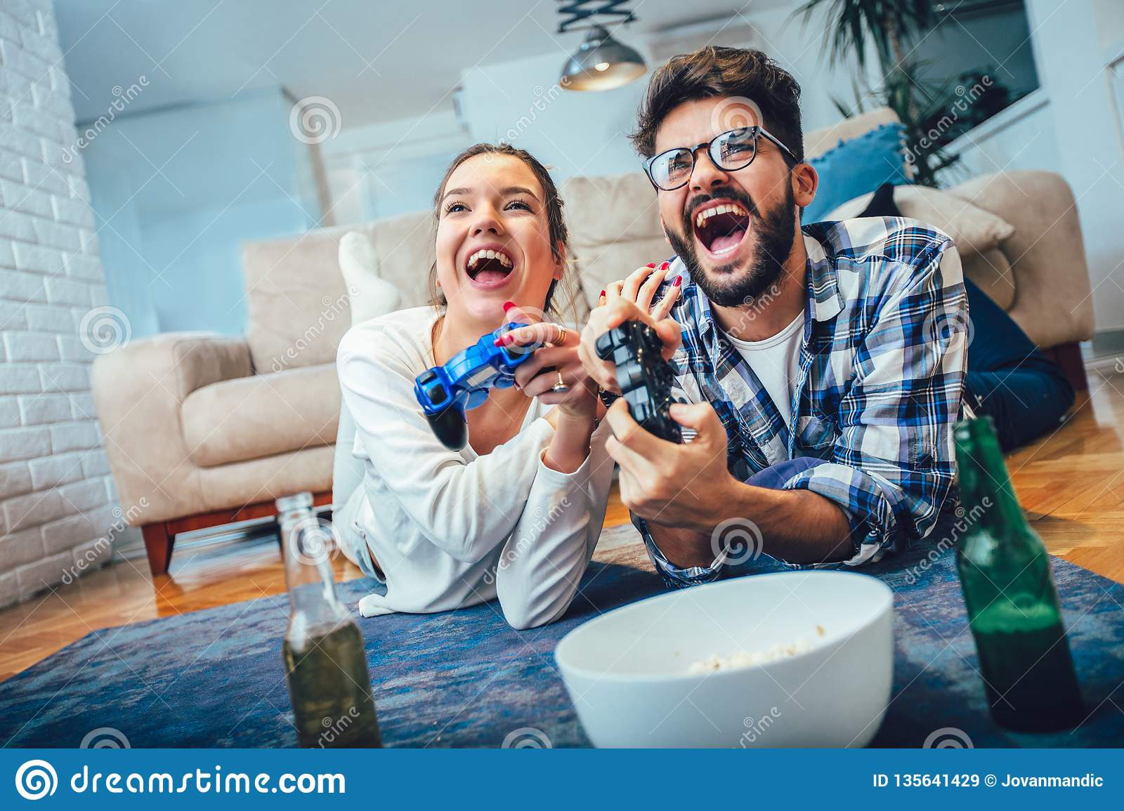 Cute Couple Playing Video Games Stock Image Image Of Game Female 135641429