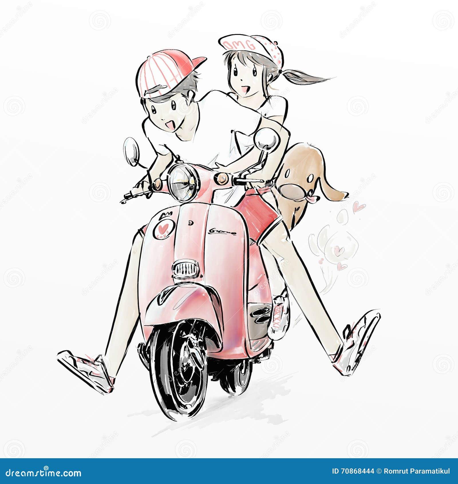 Cute Couple Riding Motorcycle Illustration 70868444 - Megapixl for Couple Sticker Line  54lyp