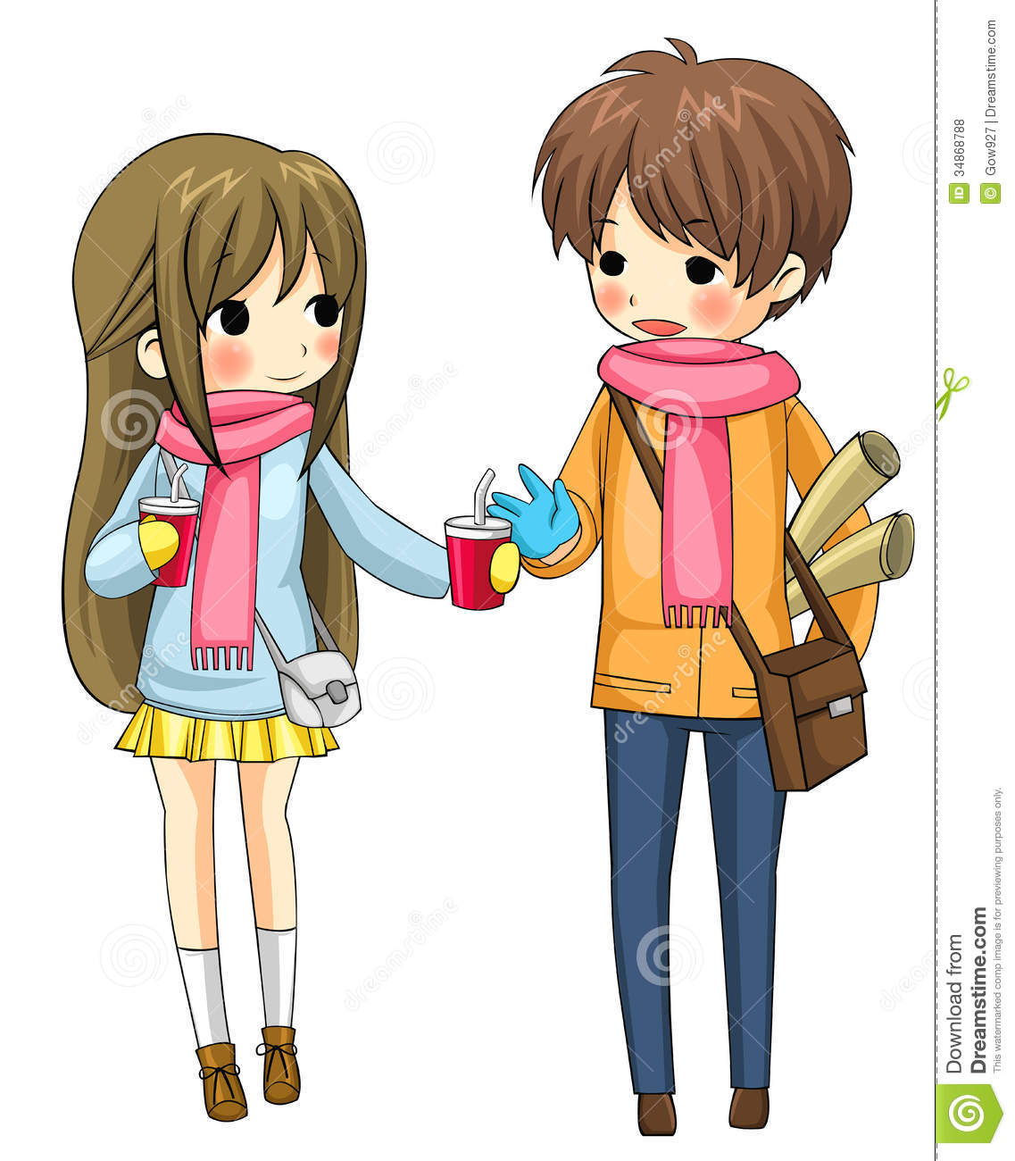 Cute couple sharing their drinks in winter in white background, create ...