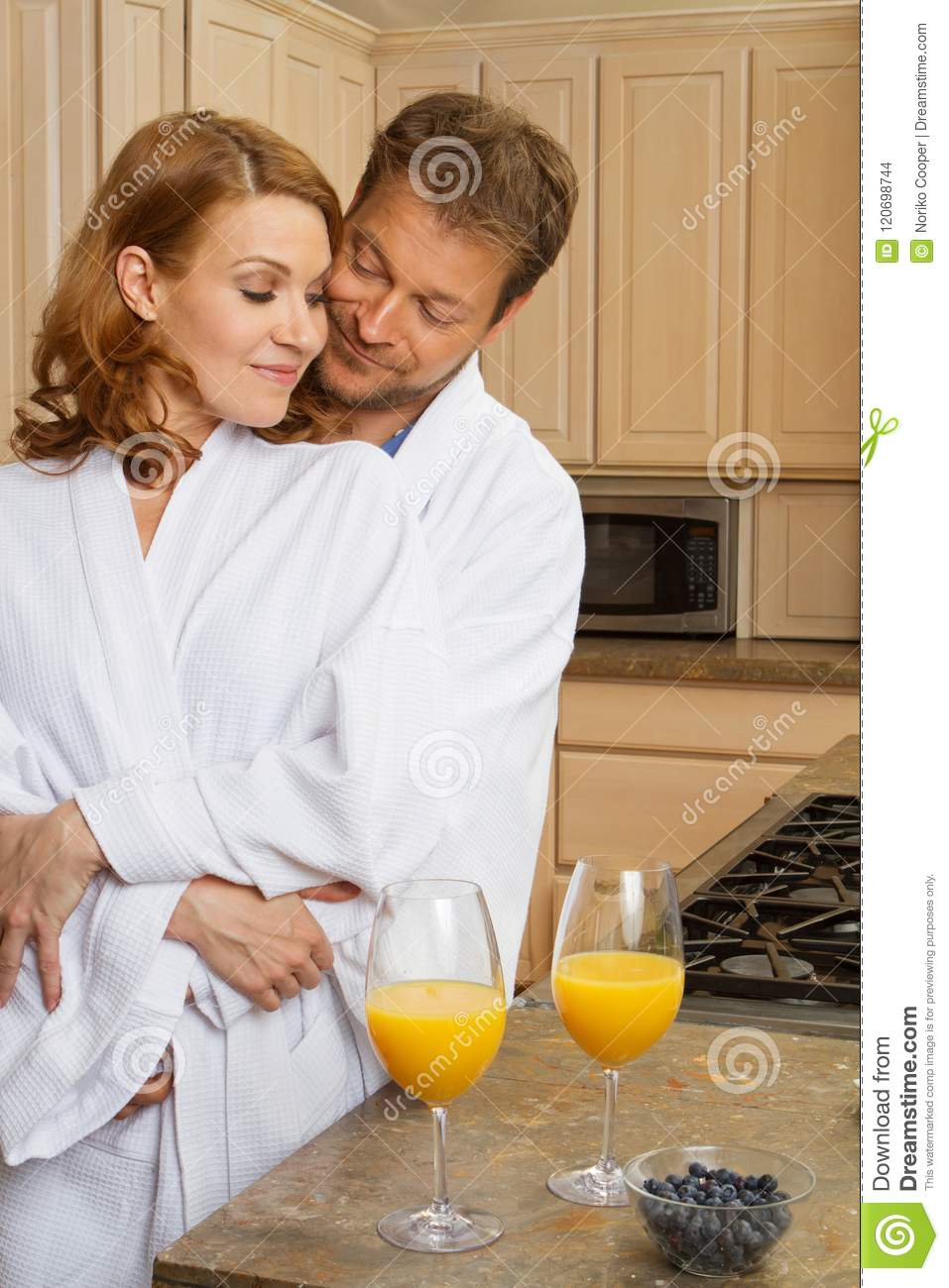 Cute Couple In Bath Robes Stock Photo Image Of Community 120698744