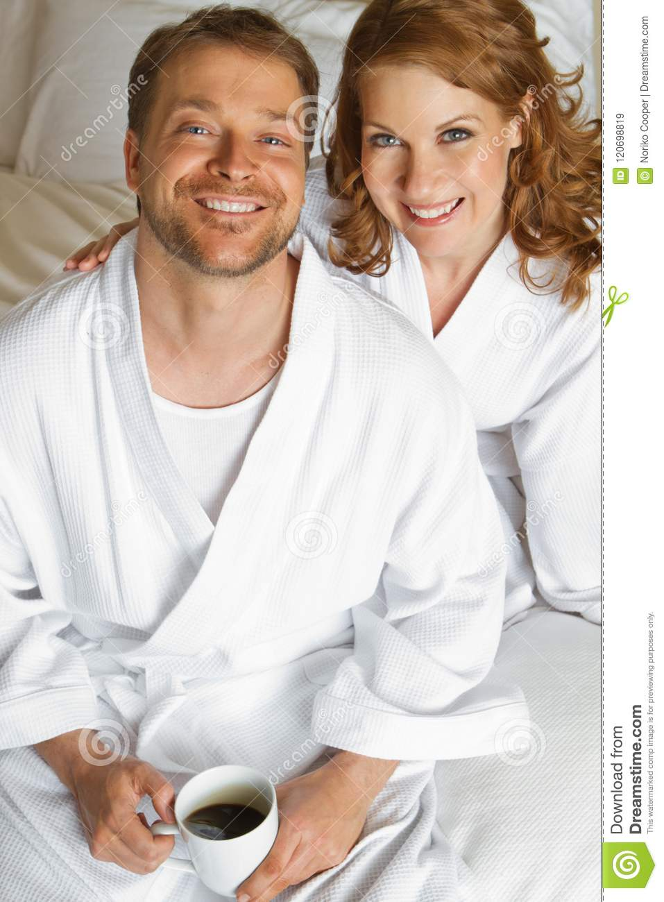 Cute Couple In Bath Robes Stock Image Image Of Lifestyles 120698819