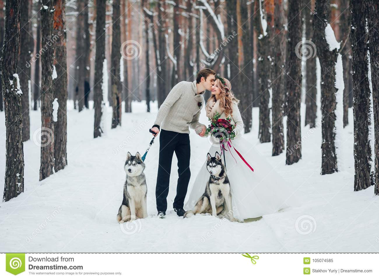 Cute couple with two siberian husky are posed on background of snowy forest. Winter wedding. Artwork