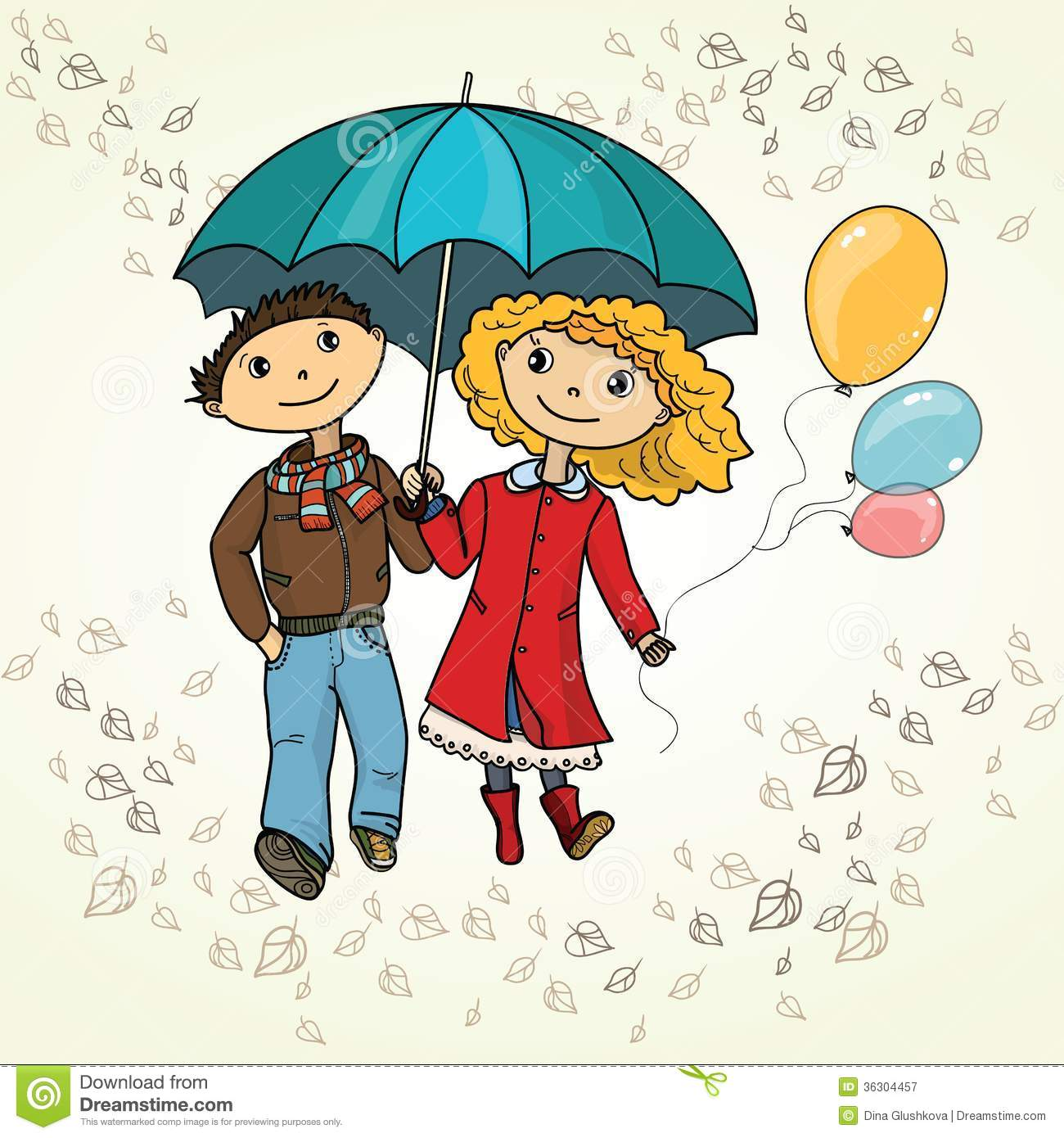 Cute couple walking in the rain