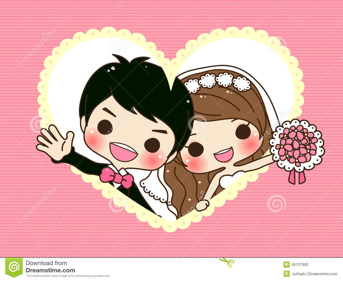 Cute Couple Wedding Stock Vector - Image: 55137992