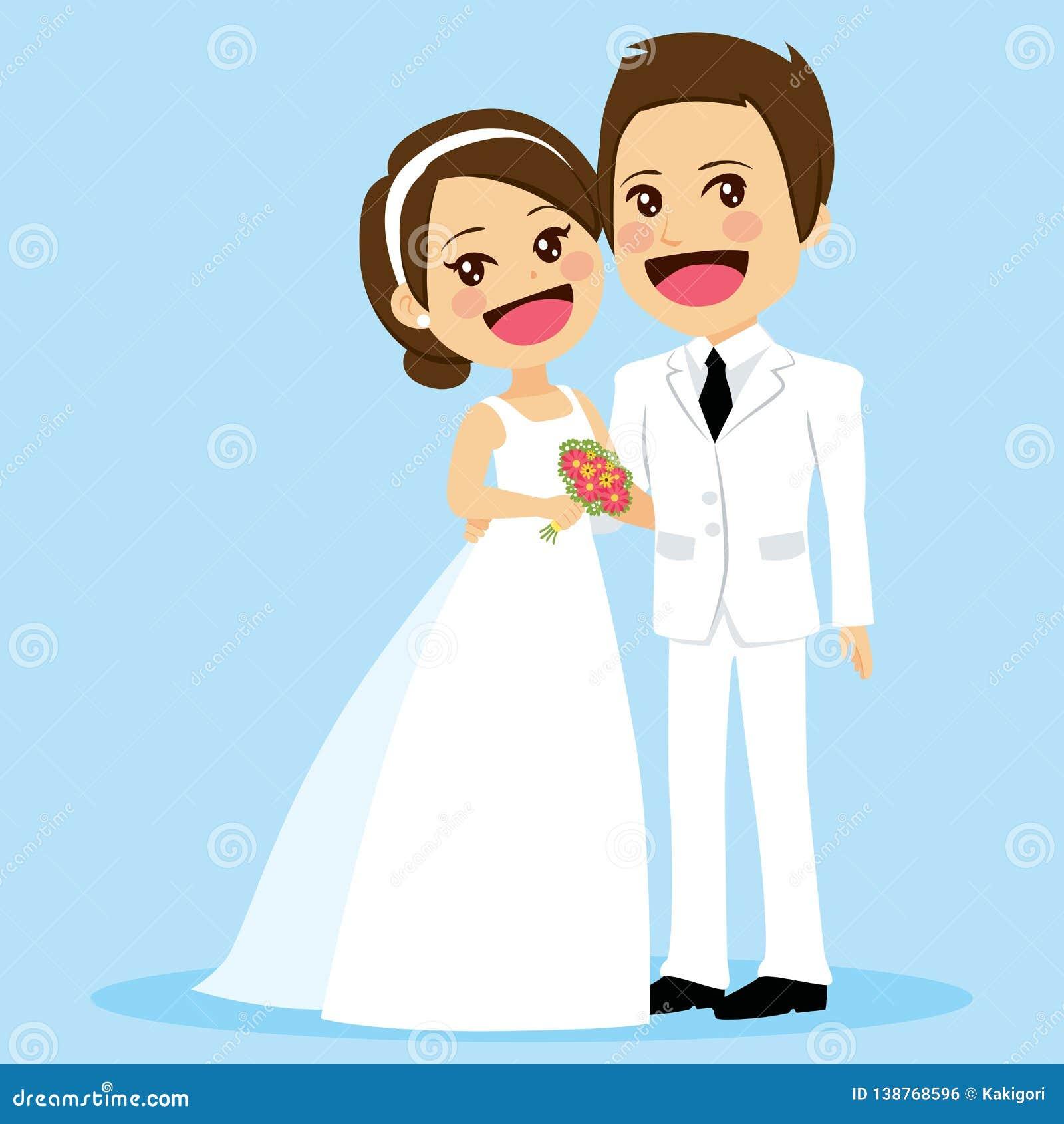 Cute Couple Wedding Standing Embracing Stock Vector Illustration Of Celebration Groom 138768596