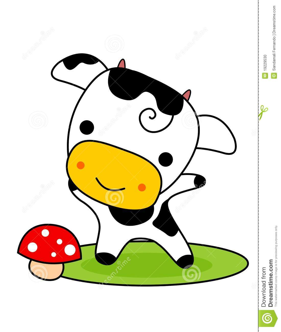 Little black and white cow isolated on white background.