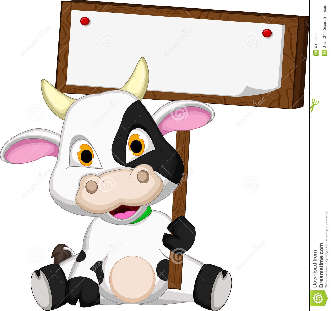 cute cow cartoon with blank board stock illustration image 40633002